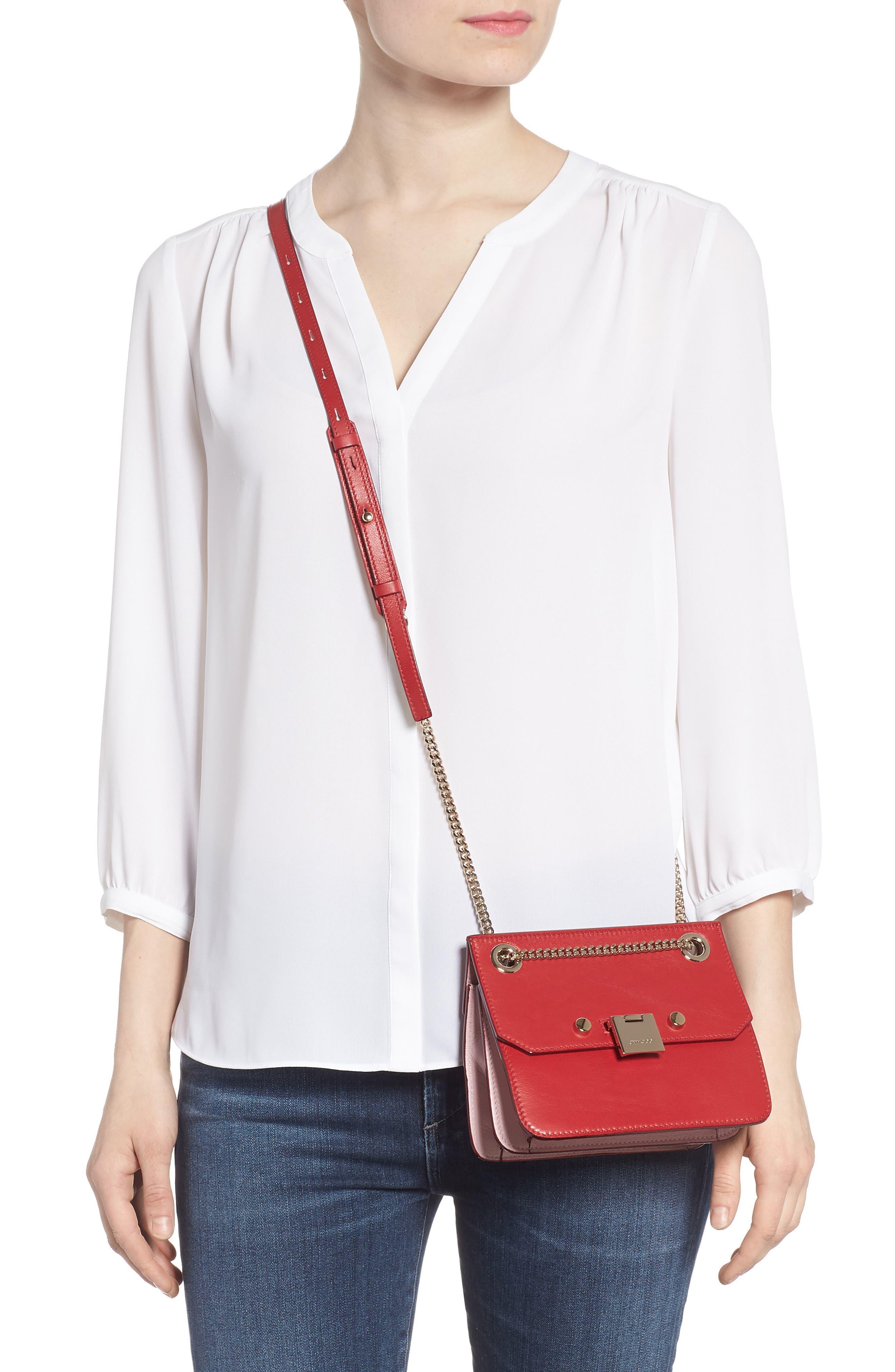 Rebel Mini Colorblock Leather Crossbody Bag,                             Alternate thumbnail 2, color,                             Red/ Rosewater