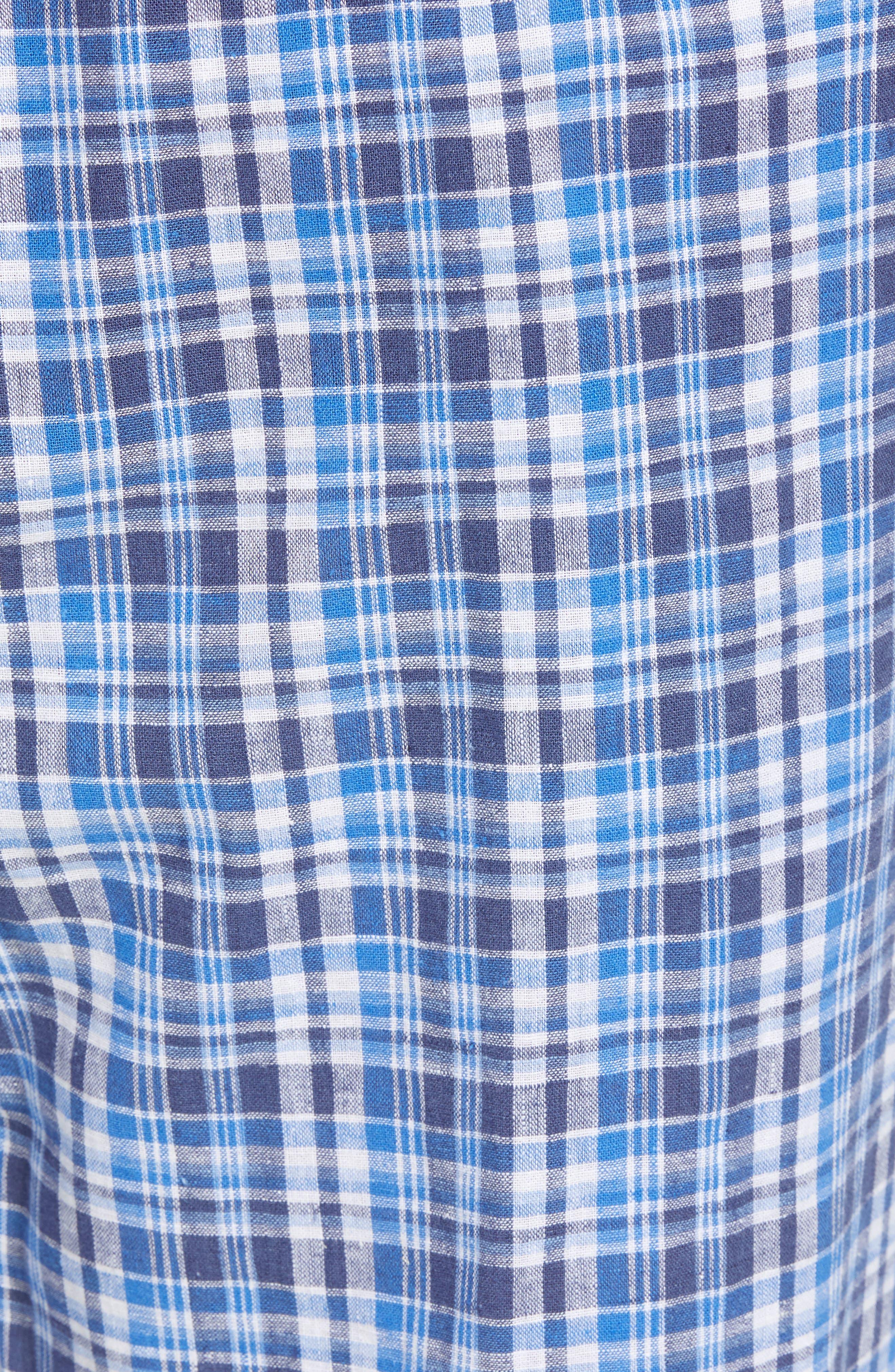 Walker Plaid Cotton & Linen Pajama Pants,                             Alternate thumbnail 5, color,                             Walker Plaid/ Cruise Navy