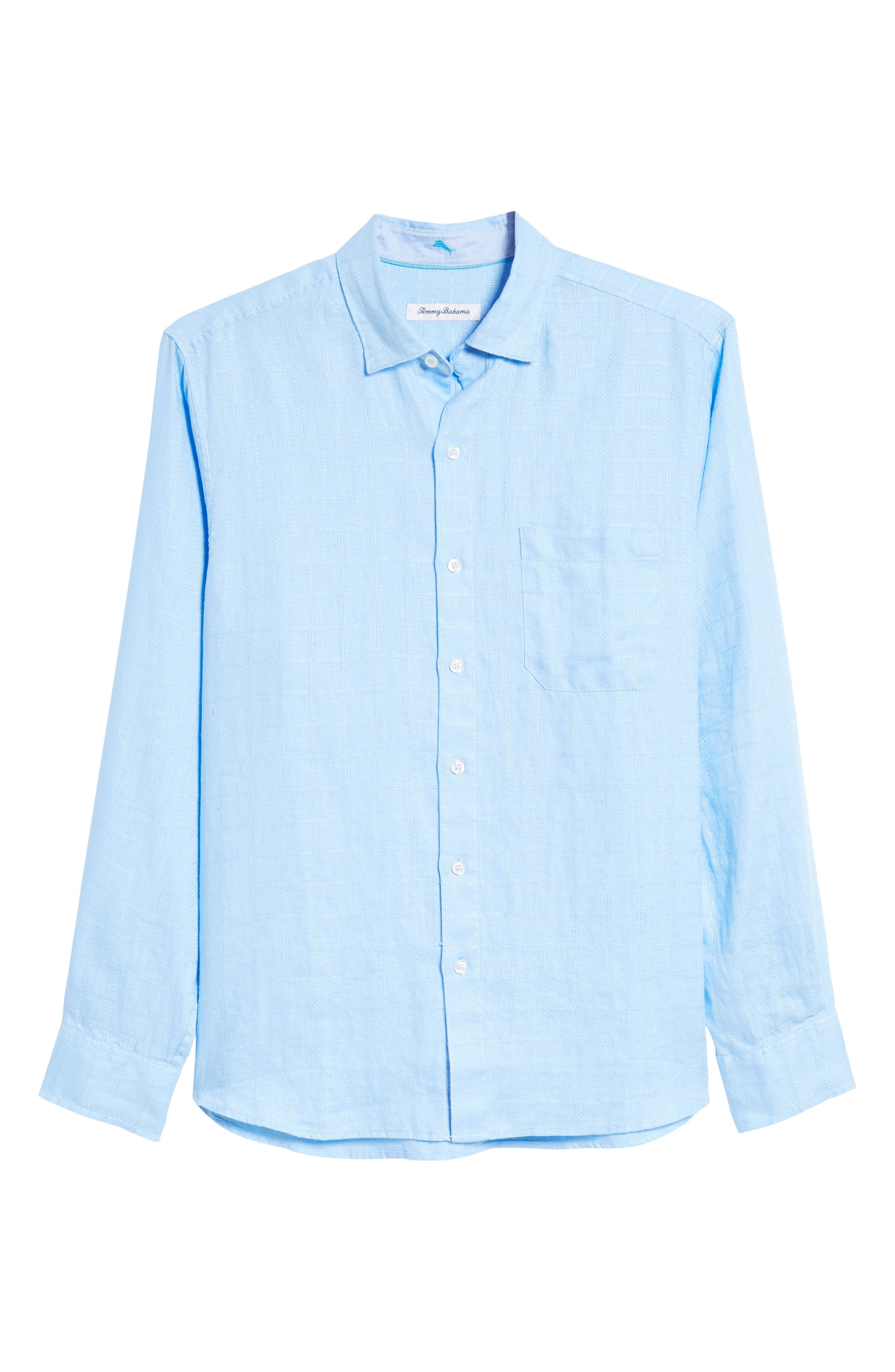 Costa Sera Linen Sport Shirt,                             Alternate thumbnail 6, color,                             Light Sky