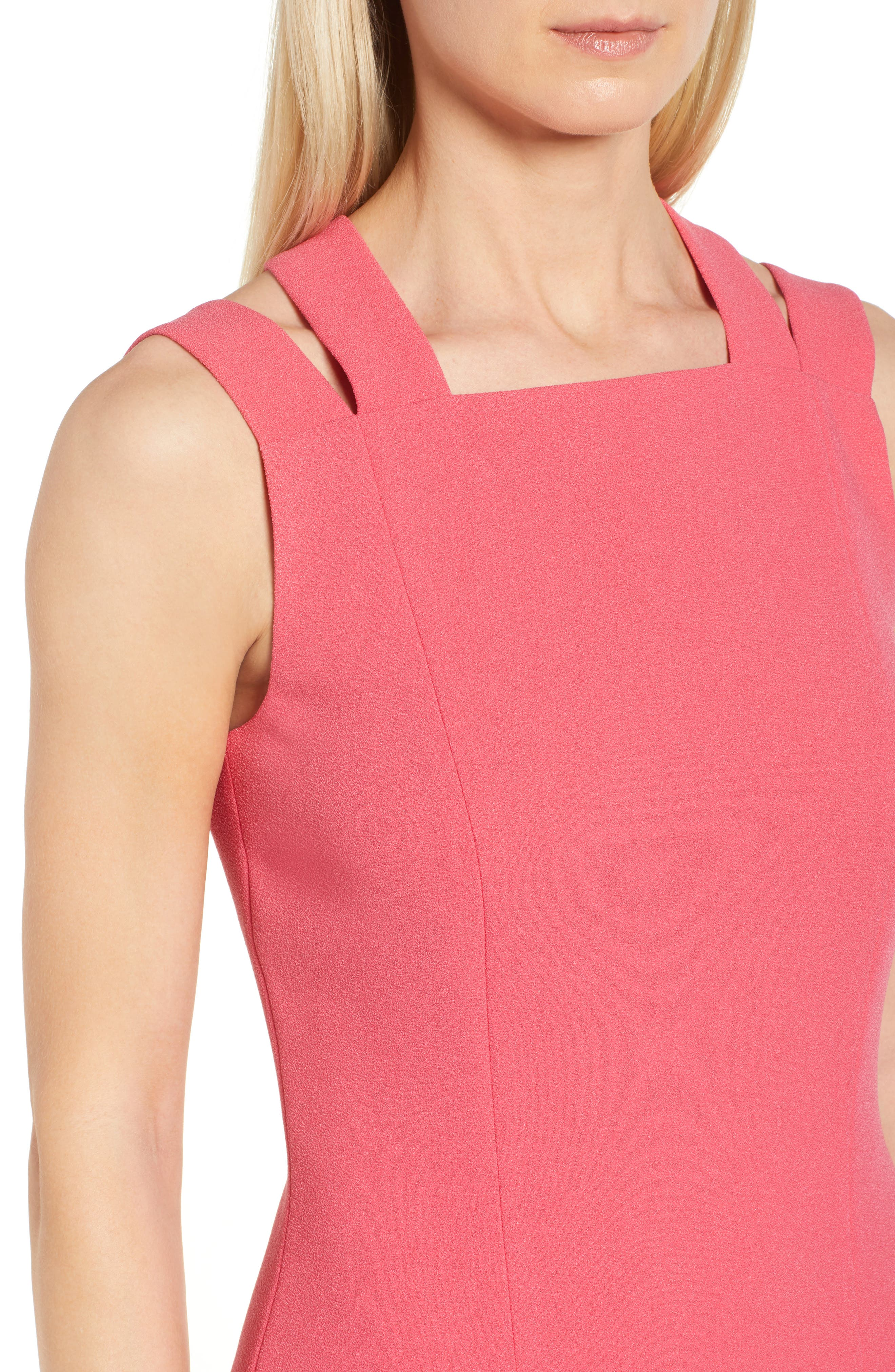 Daphima Compact Crepe Sheath Dress,                             Alternate thumbnail 4, color,                             Lychee Pink