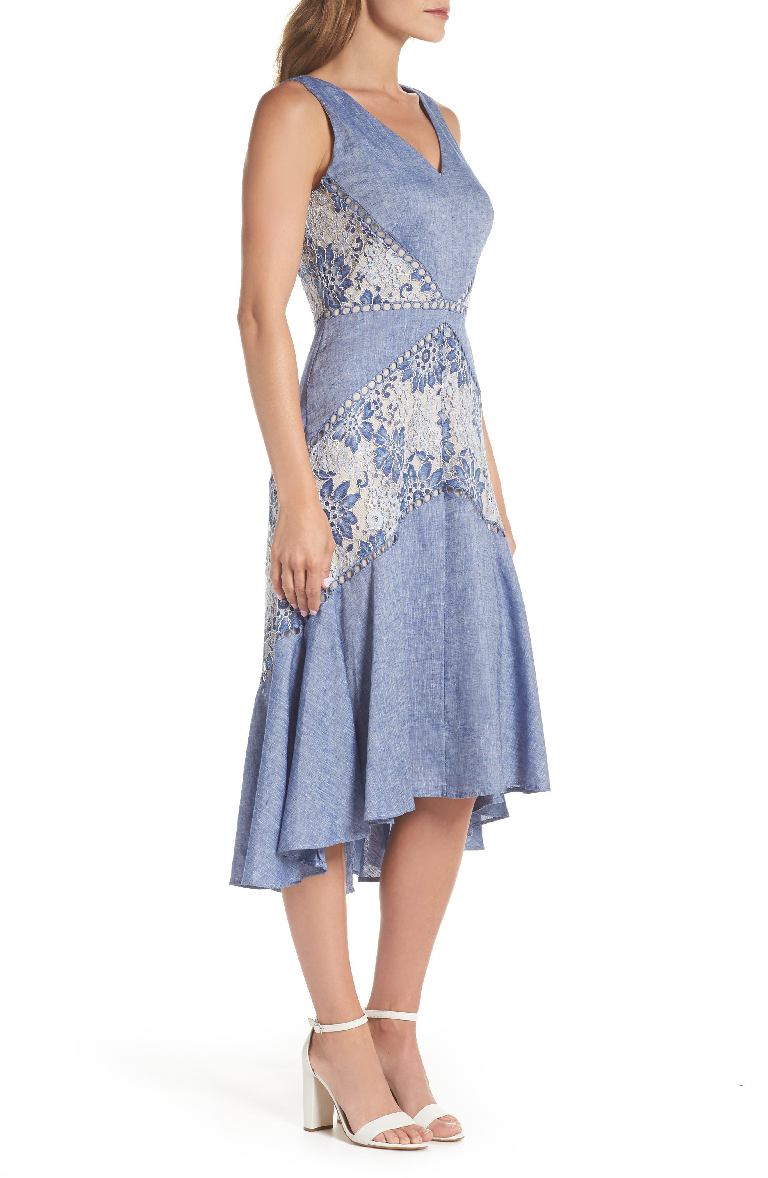 Chambray & Lace Midi Dress,                             Alternate thumbnail 3, color,                             Chambray Nude