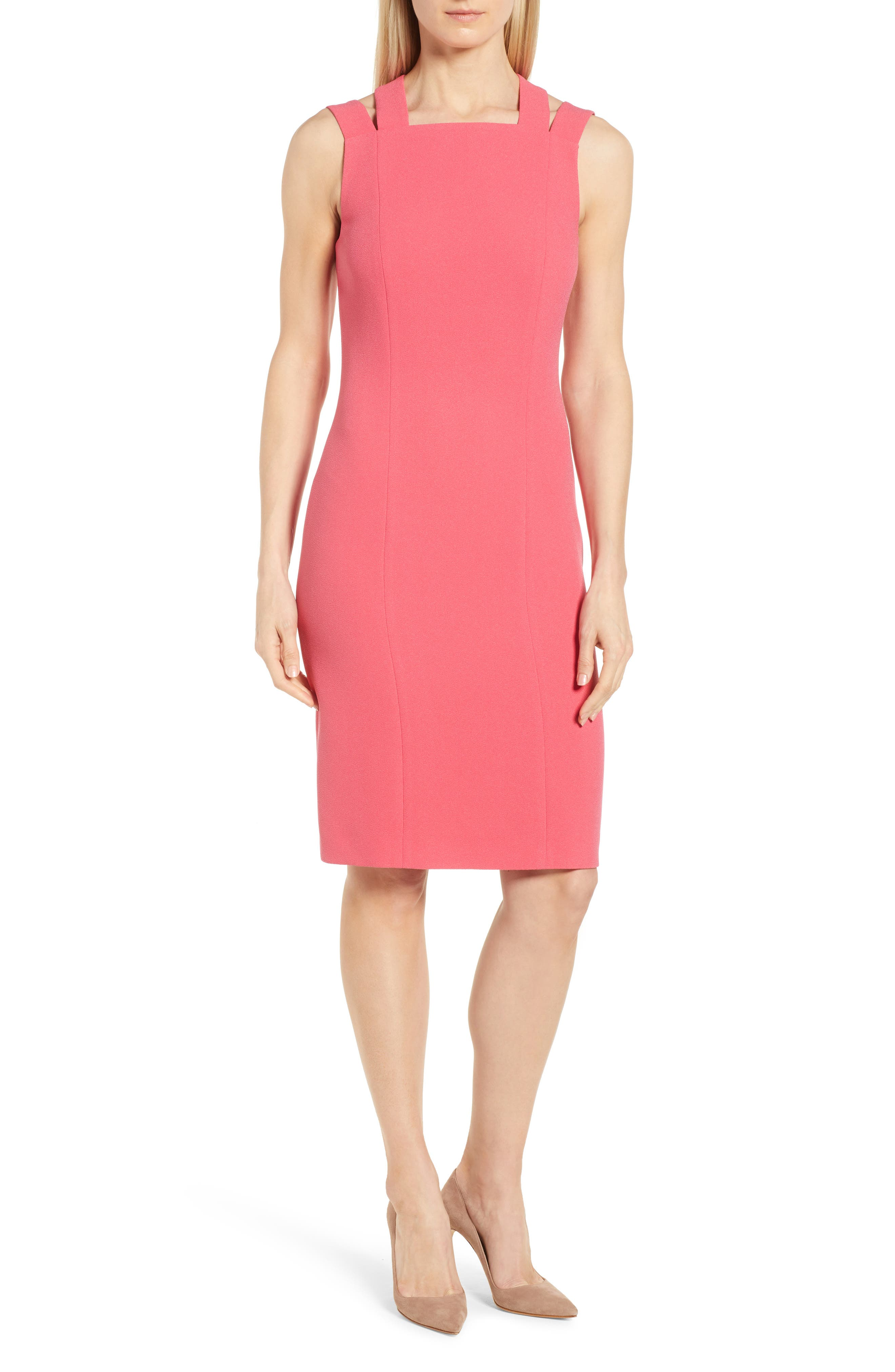 Daphima Compact Crepe Sheath Dress,                         Main,                         color, Lychee Pink