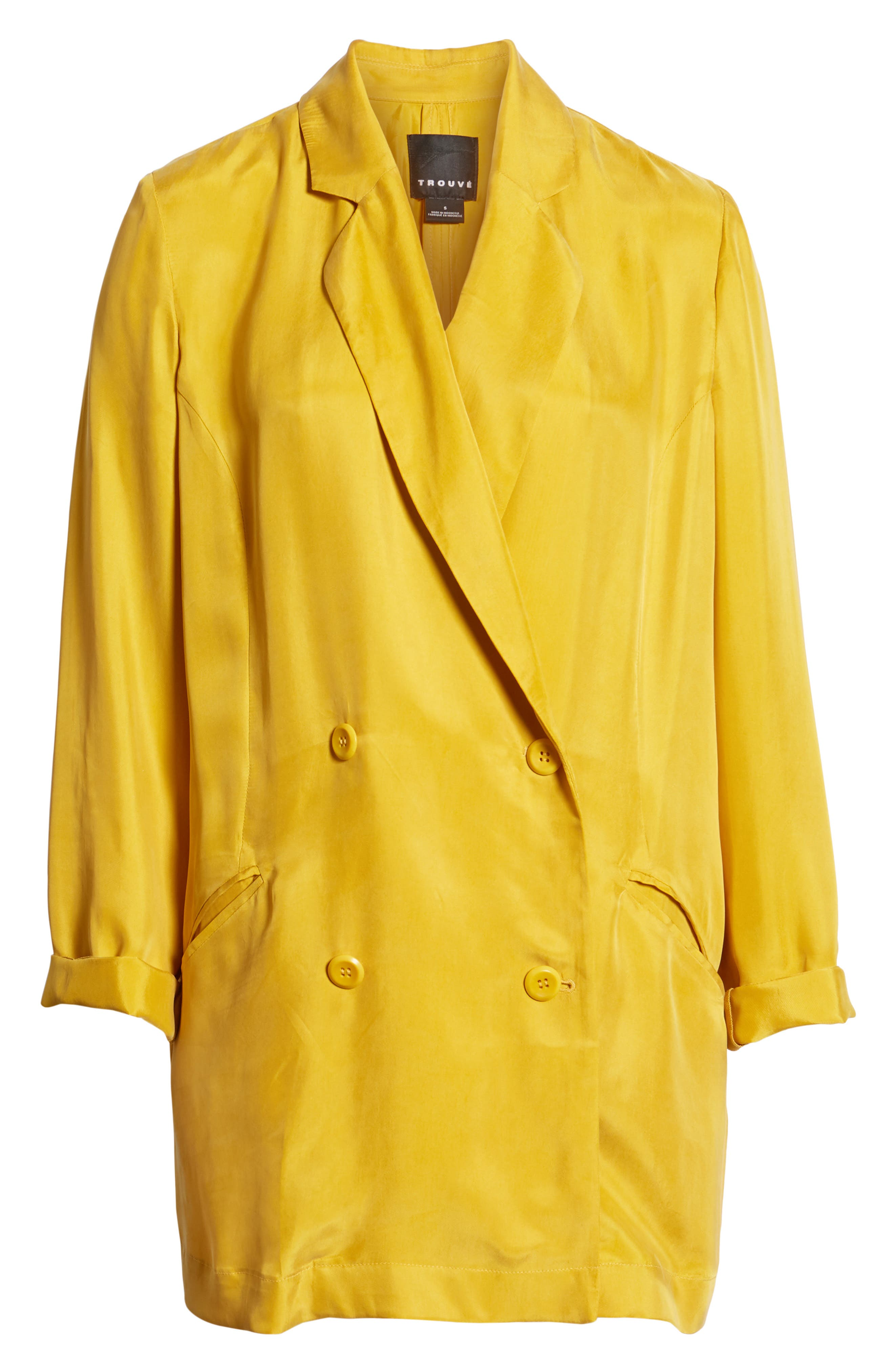 Double Breasted Longline Blazer,                             Alternate thumbnail 7, color,                             Yellow Nugget