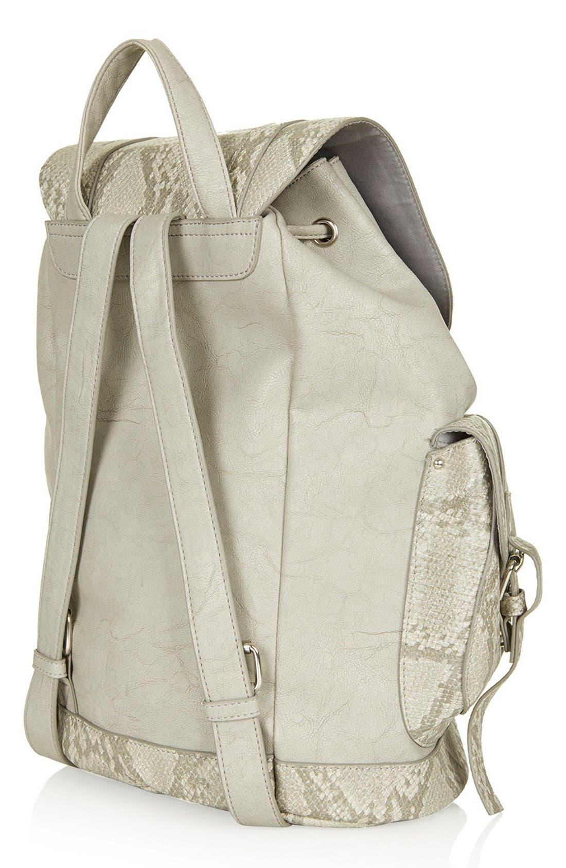 Alternate Image 3  - Topshop Snakeskin Pocket Faux Leather Backpack