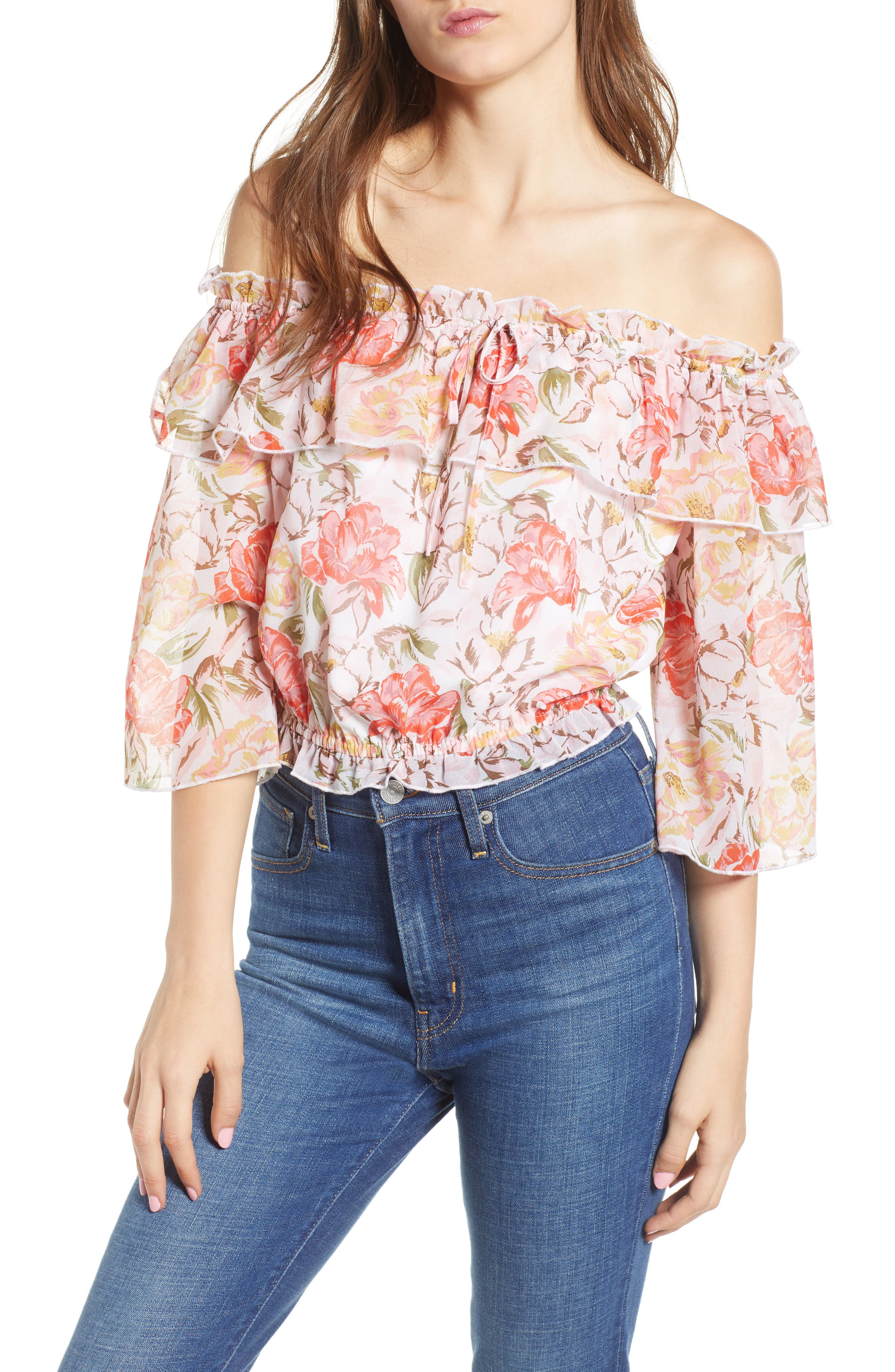 Cosenza Off the Shoulder Crop Top,                         Main,                         color, Ivory Floral