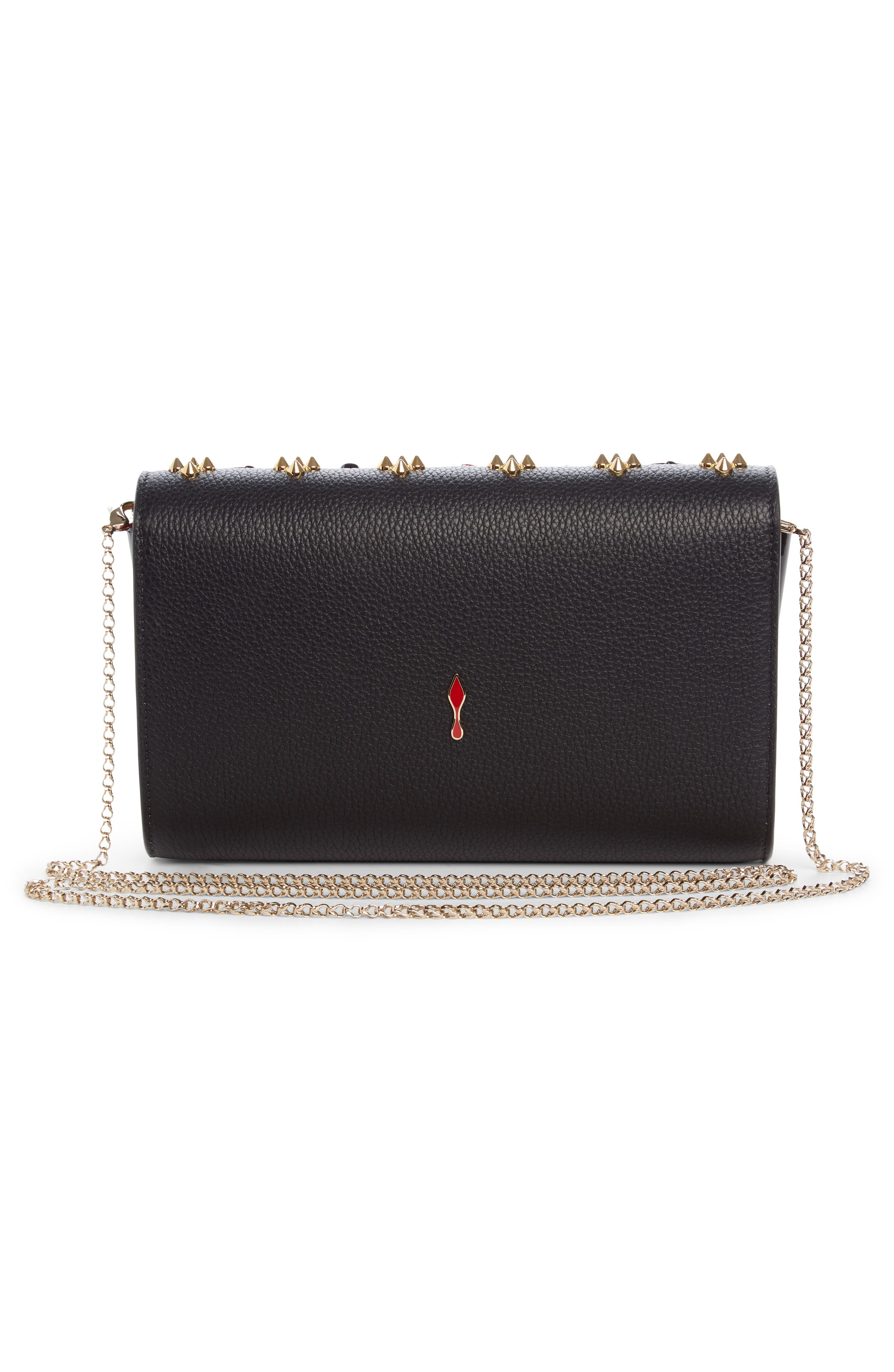 Paloma Empire Calfskin Clutch,                             Alternate thumbnail 2, color,                             Black/ Red-Gold