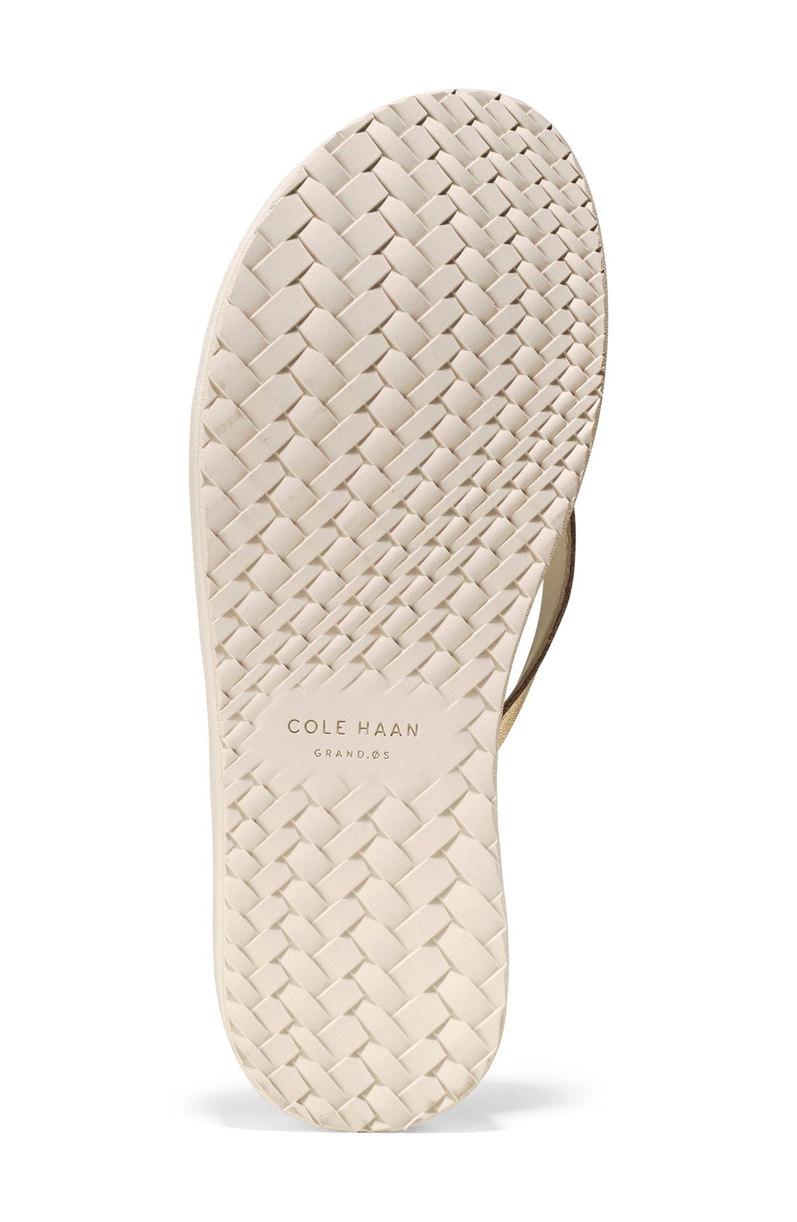 Lobster Wedge Flip Flop,                             Alternate thumbnail 6, color,                             Gold/ Pumice Stone Leather