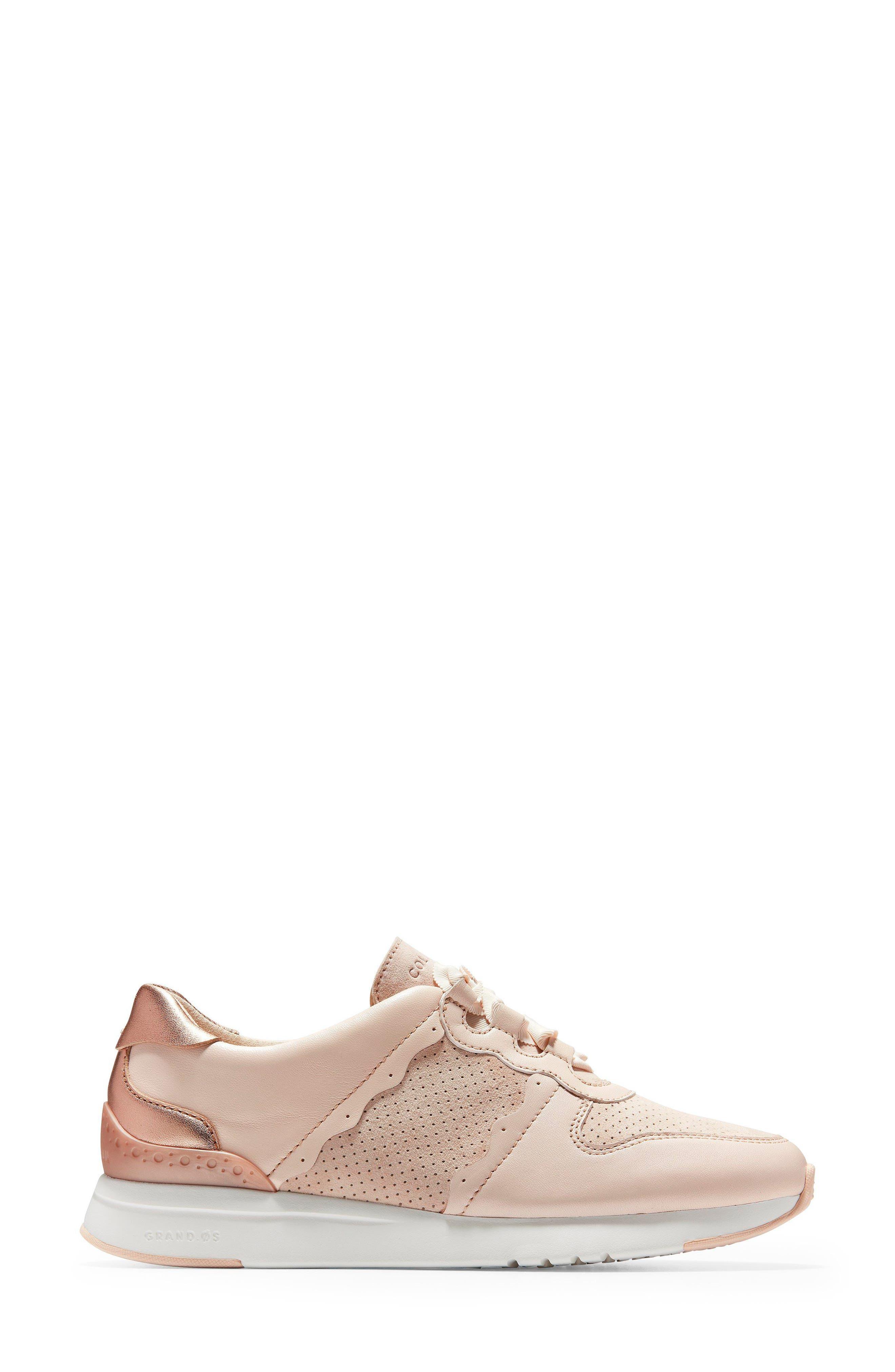 GrandPro Wedge Sneaker,                             Alternate thumbnail 3, color,                             Peach Blush Suede