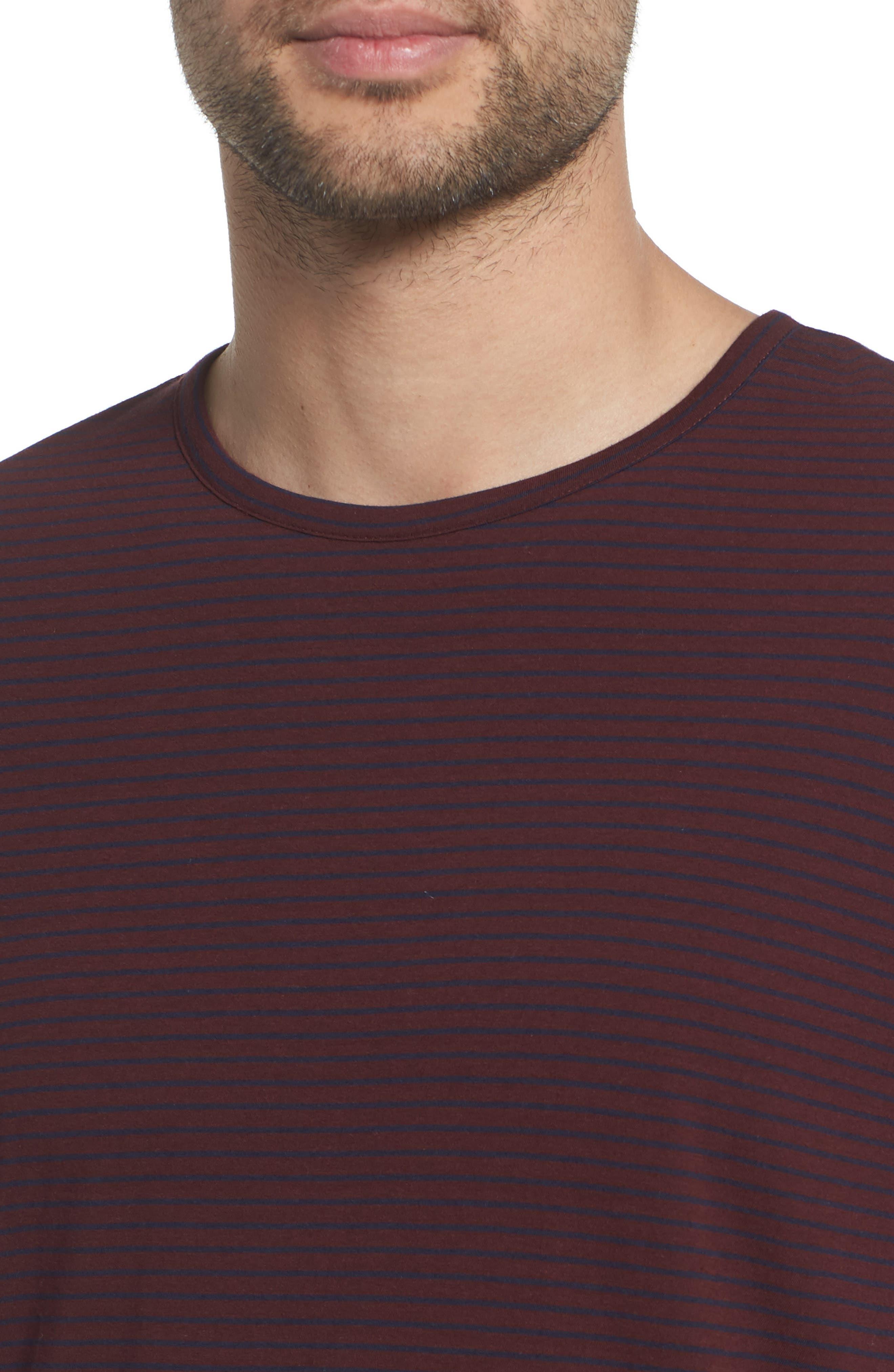 Stripe Long Sleeve Crewneck T-Shirt,                             Alternate thumbnail 4, color,                             Black Cherry/ New Coastal