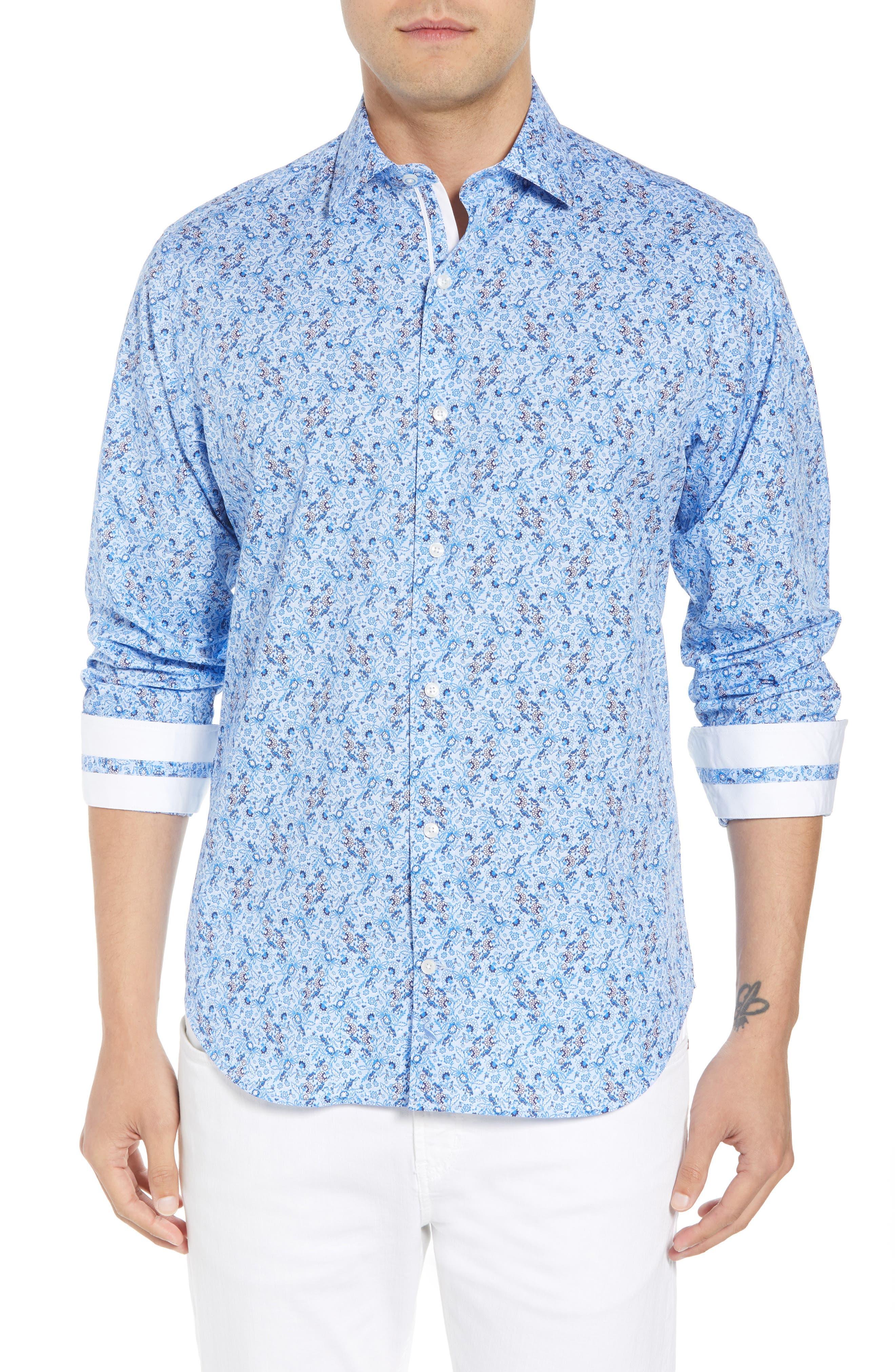 Stewart Regular Fit Floral Sport Shirt,                             Main thumbnail 1, color,                             Blue