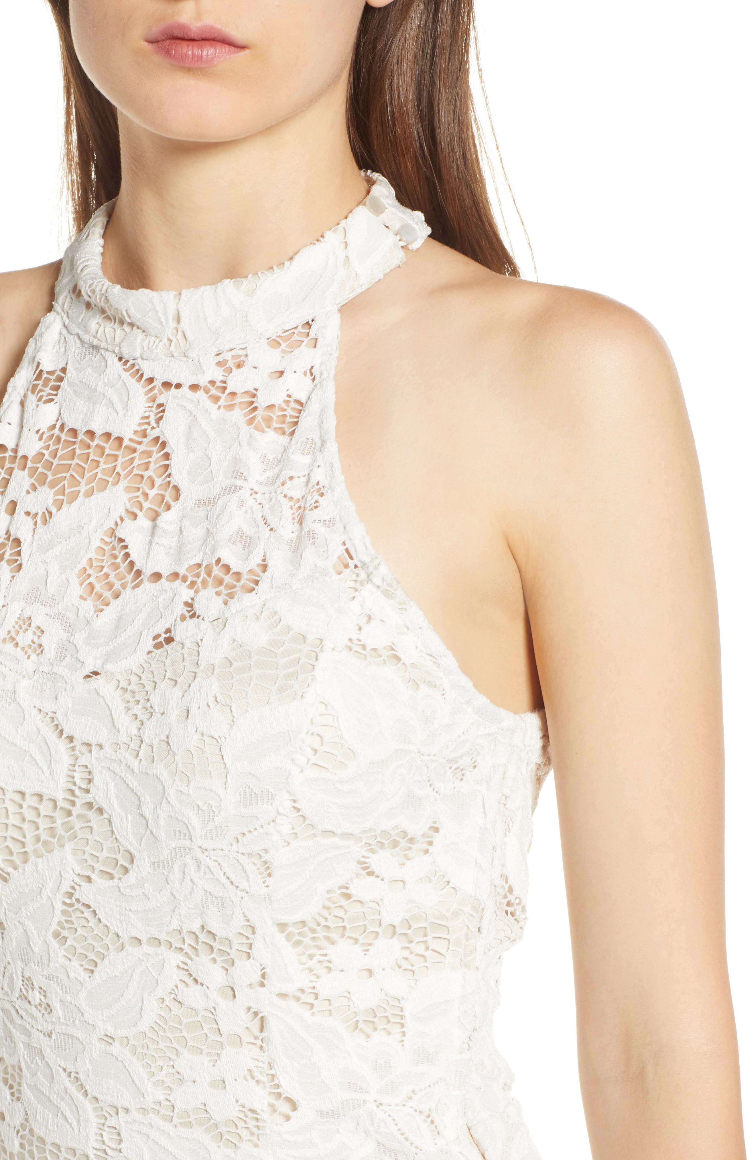 Lace Body-Con Minidress,                             Alternate thumbnail 4, color,                             Ivory/ Nude