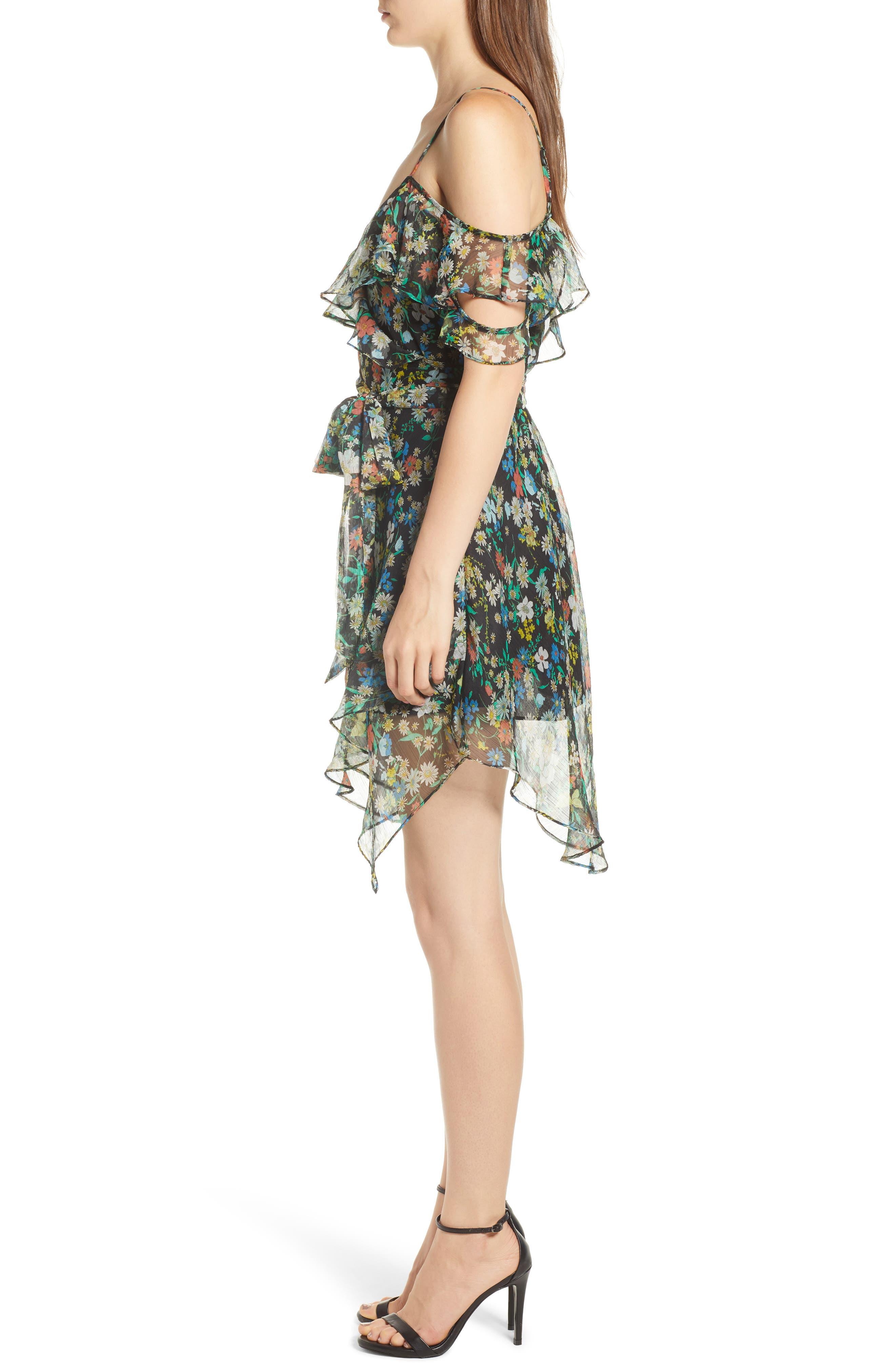 Alternate Image 3  - KENDALL + KYLIE Floral Ruffle Wrap Dress