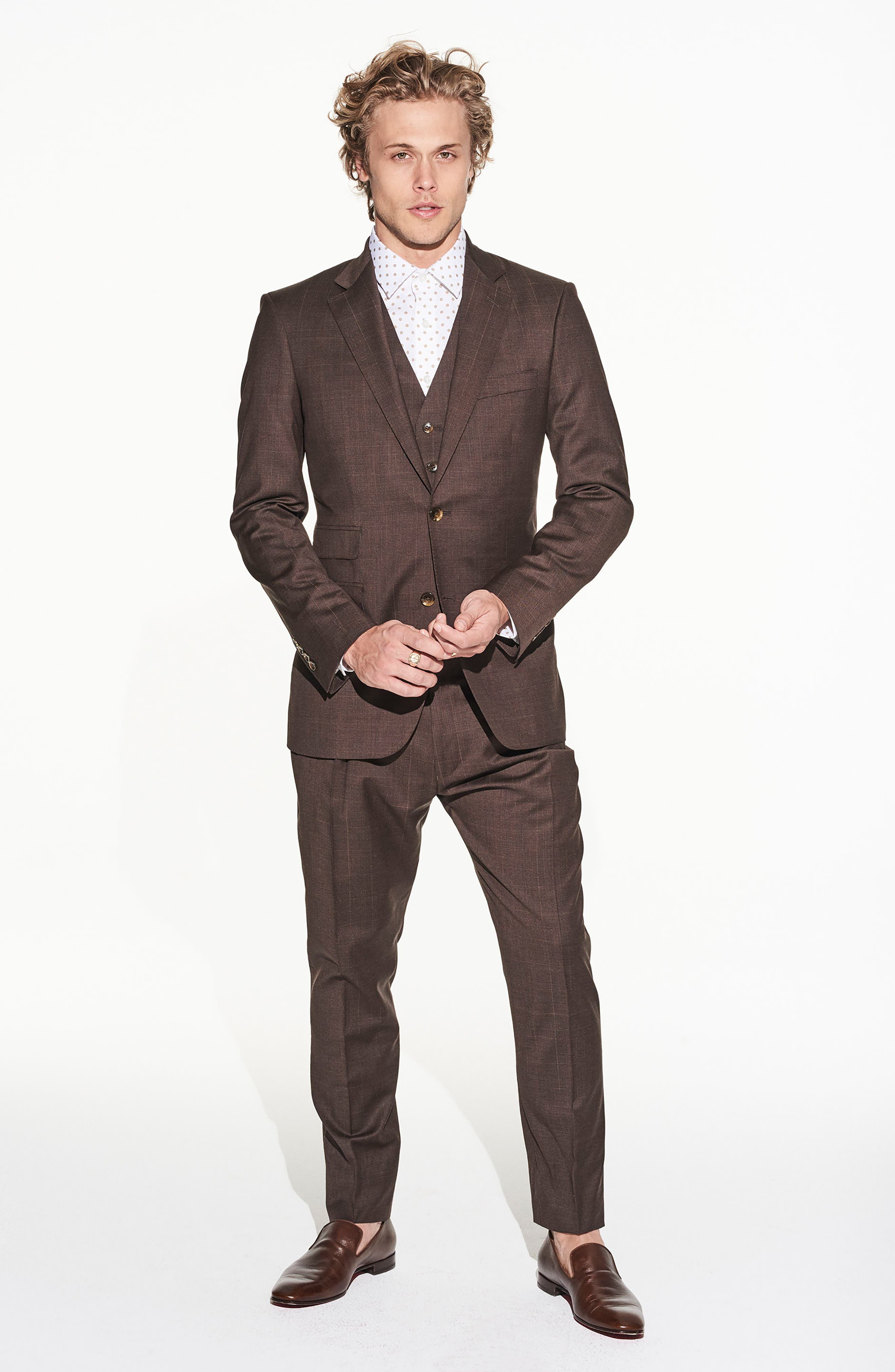 by Ilaria Urbinati Hank Slim Fit Three-Piece Plaid Wool Suit,                             Alternate thumbnail 2, color,                             Brown Plaid