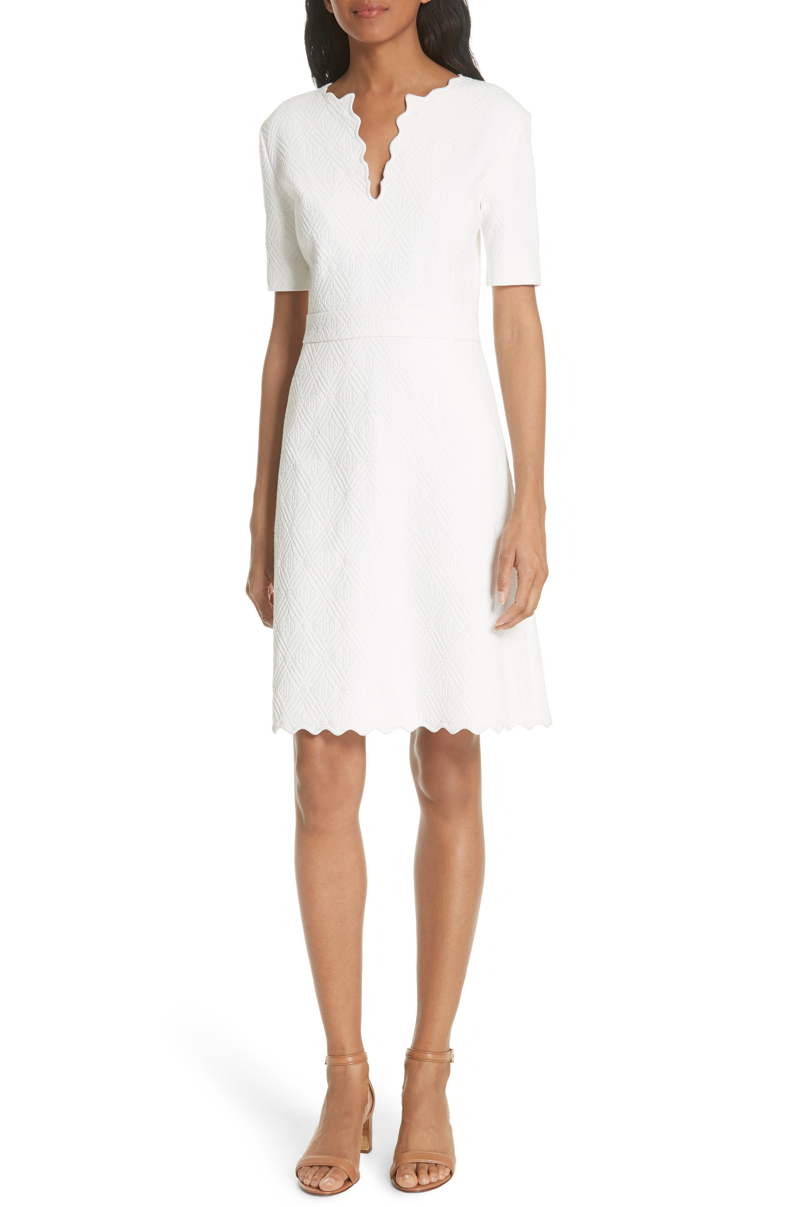 Bailey Scallop Cotton Dress,                             Main thumbnail 1, color,                             White