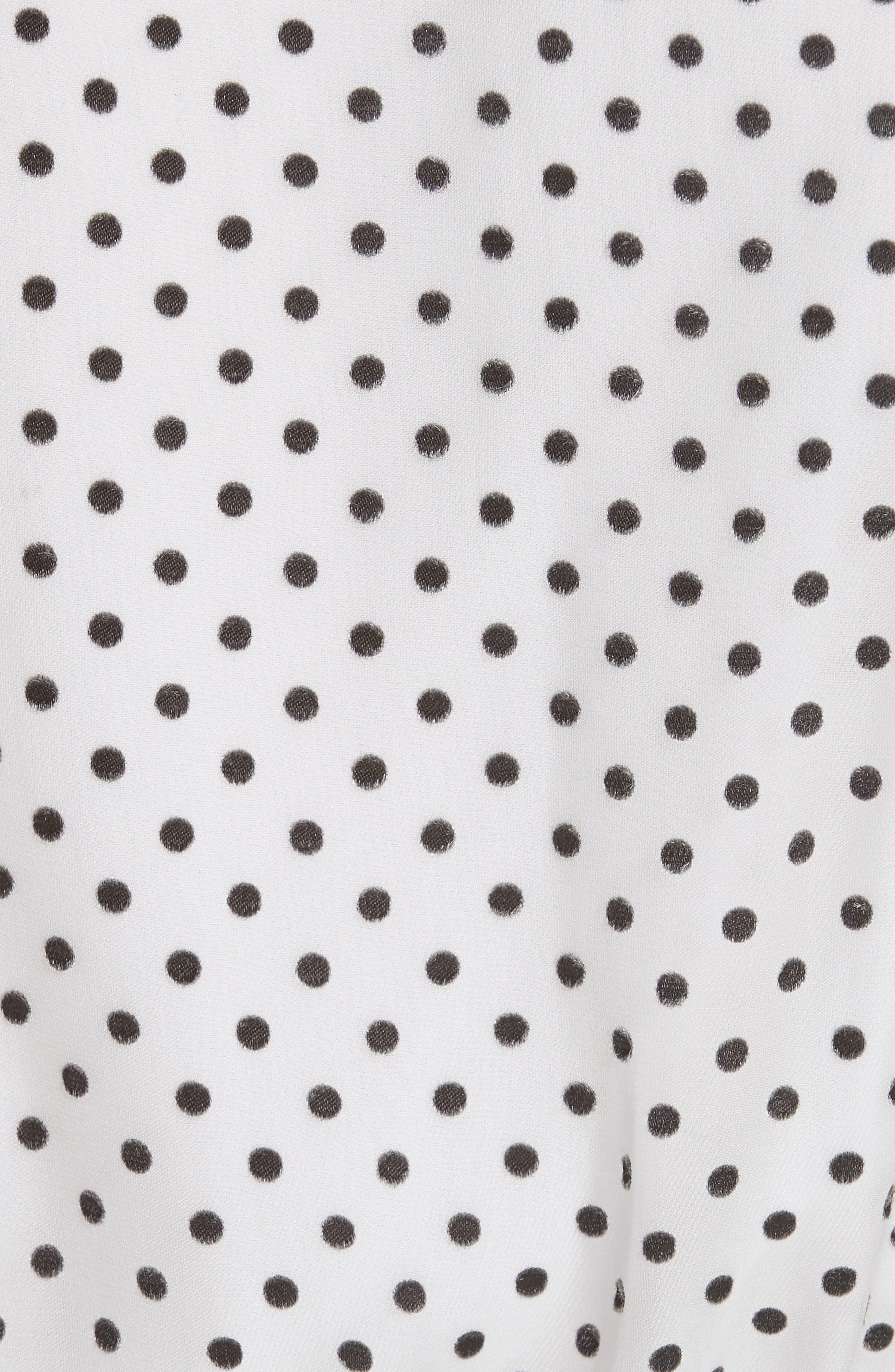 Bray Dot Pleated Sleeve Wrap Top,                             Alternate thumbnail 5, color,                             Soft White Mono Dot