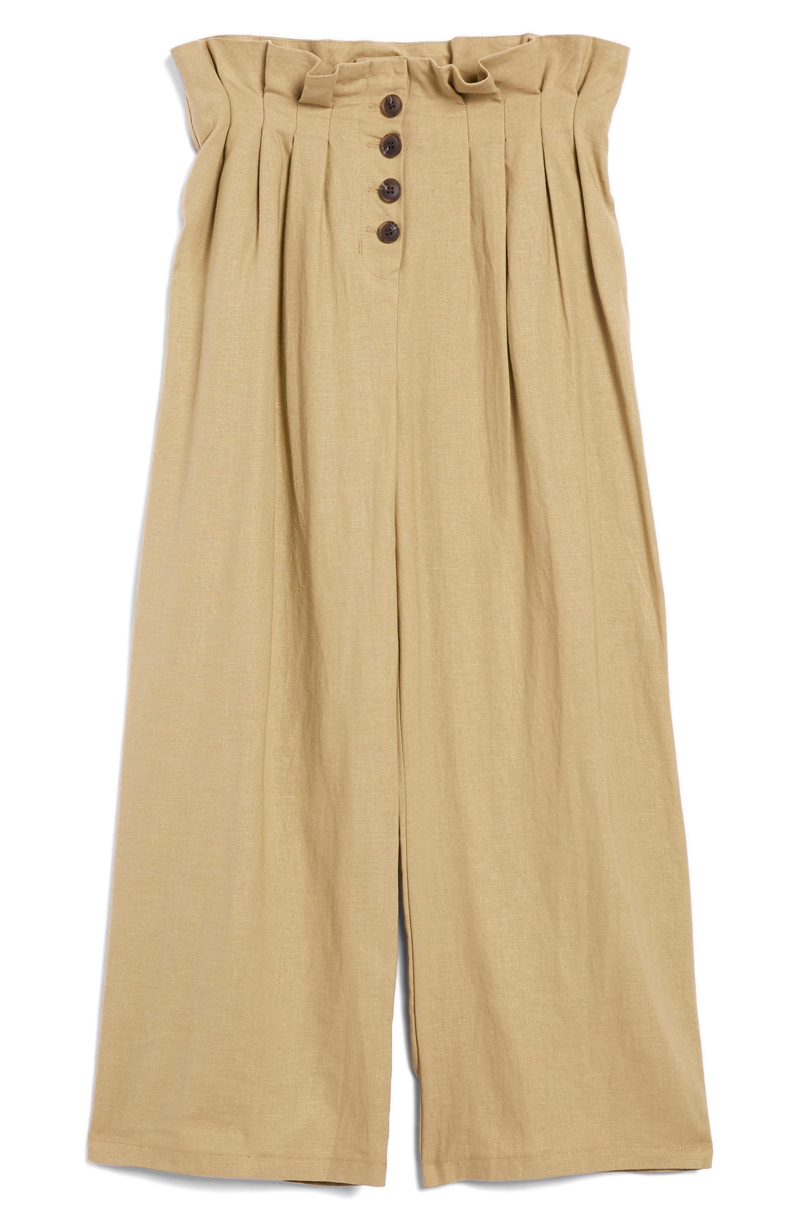 Button Wide Leg Crop Trousers,                             Alternate thumbnail 4, color,                             Stone