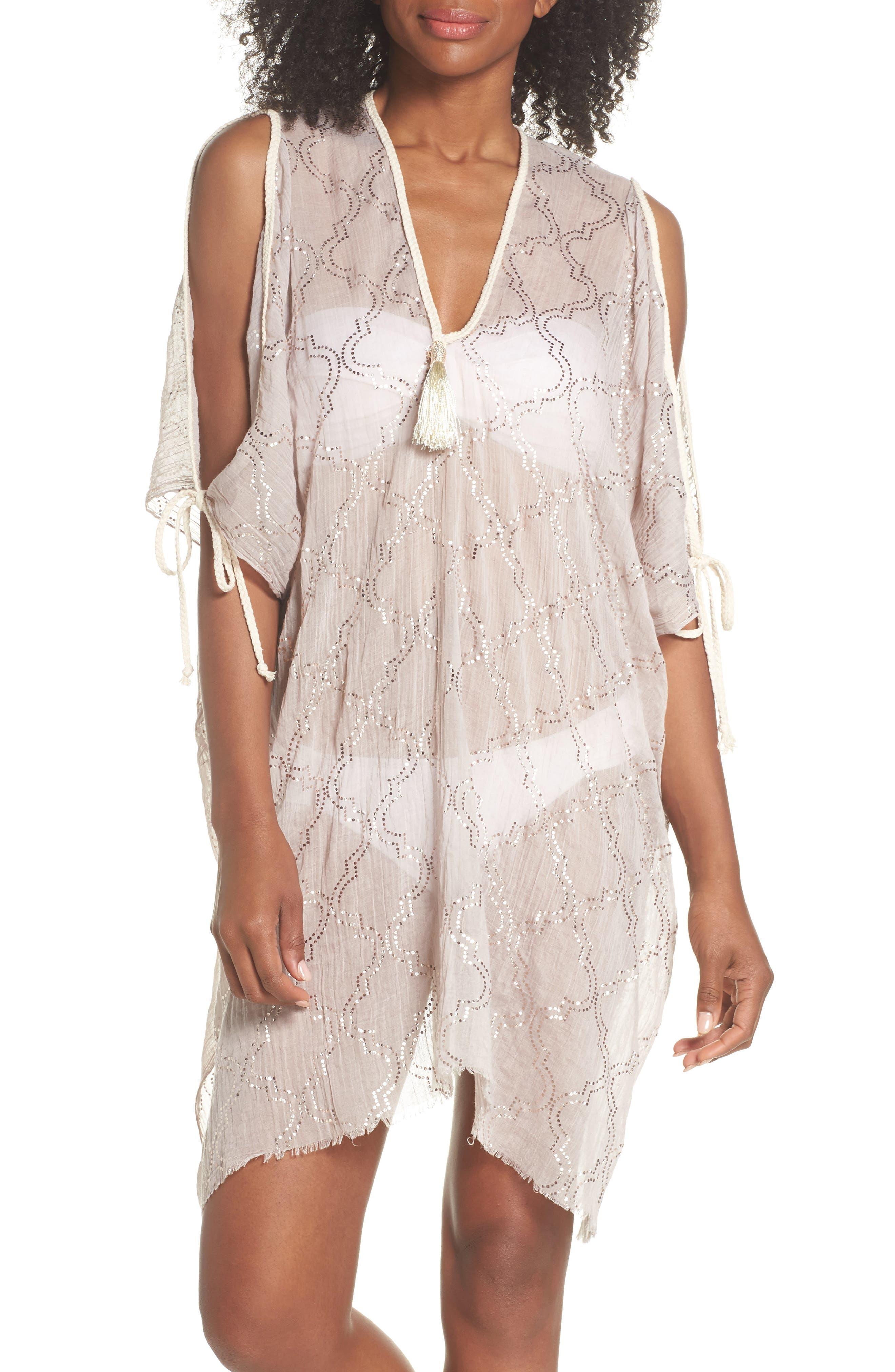 Cold Shoulder Cover-Up Dress,                             Main thumbnail 1, color,                             Sand