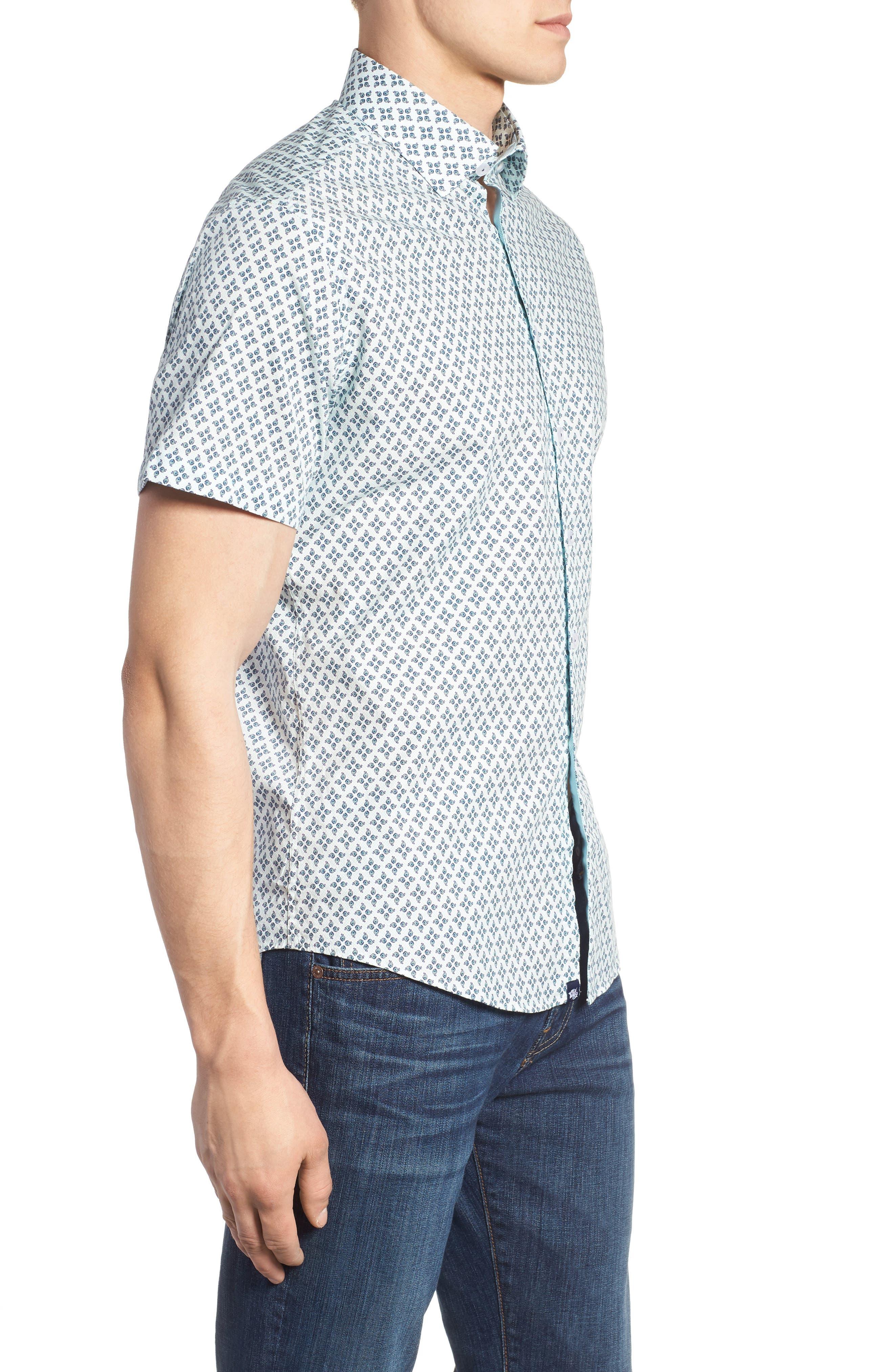Slim Fit Peacock Feather Print Sport Shirt,                             Alternate thumbnail 4, color,                             Mint