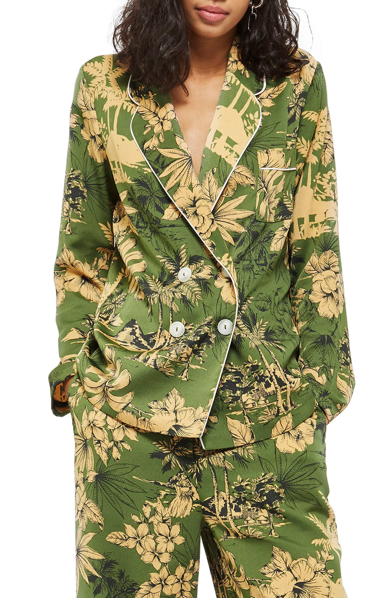 Tropical Pajama Jacket,                             Main thumbnail 1, color,                             Green Multi