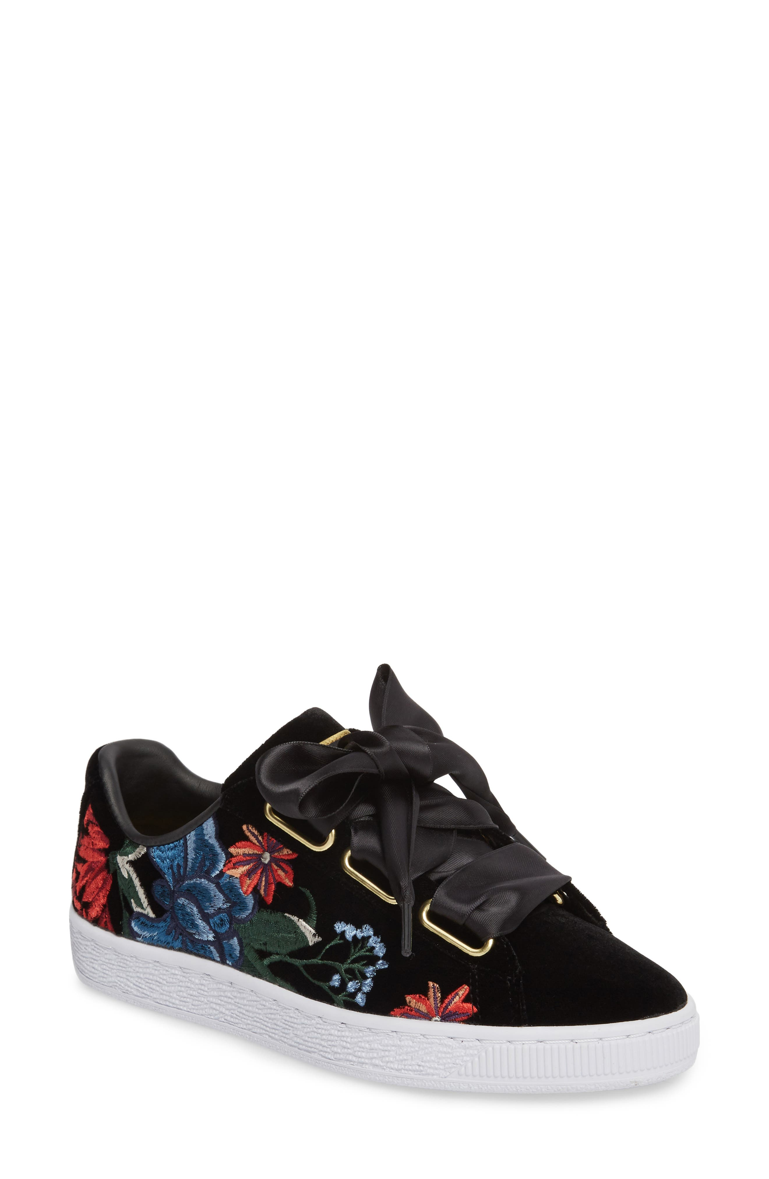 Basket Heart Hyper Embroidered Sneaker,                         Main,                         color, Black
