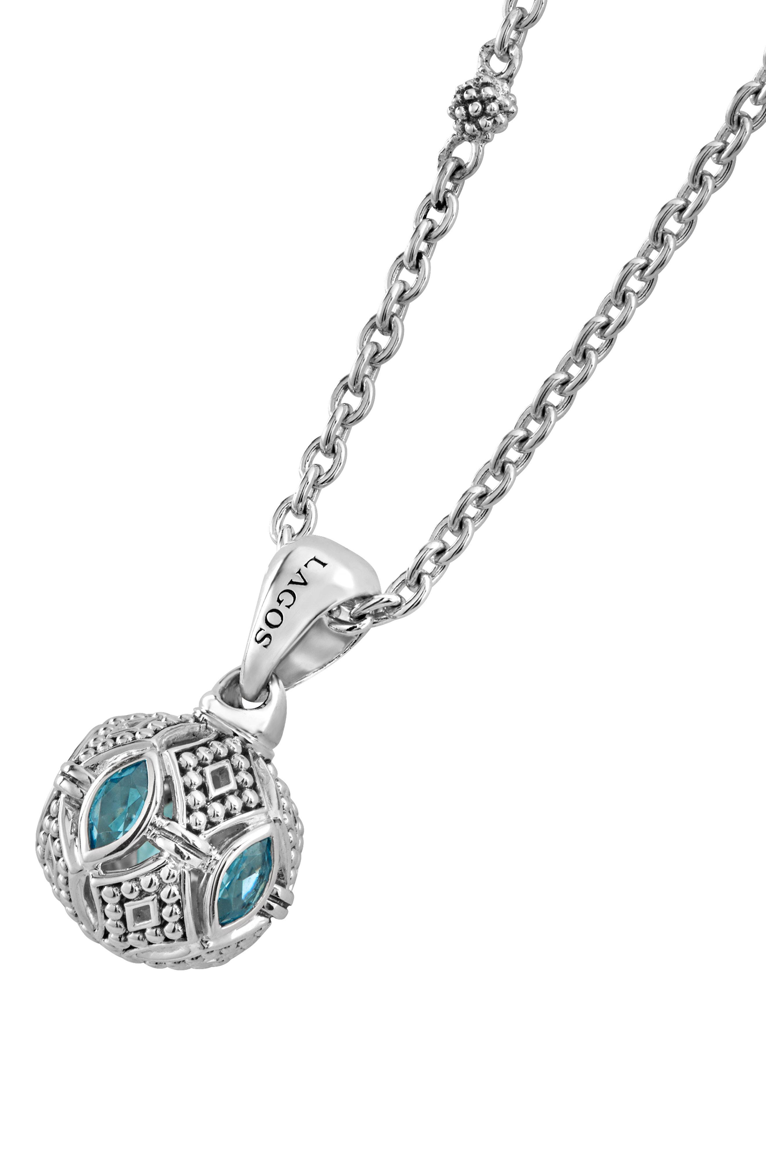 Caviar Talisman Marquee Ball Link Necklace,                             Alternate thumbnail 2, color,                             Silver/ Blue Topaz