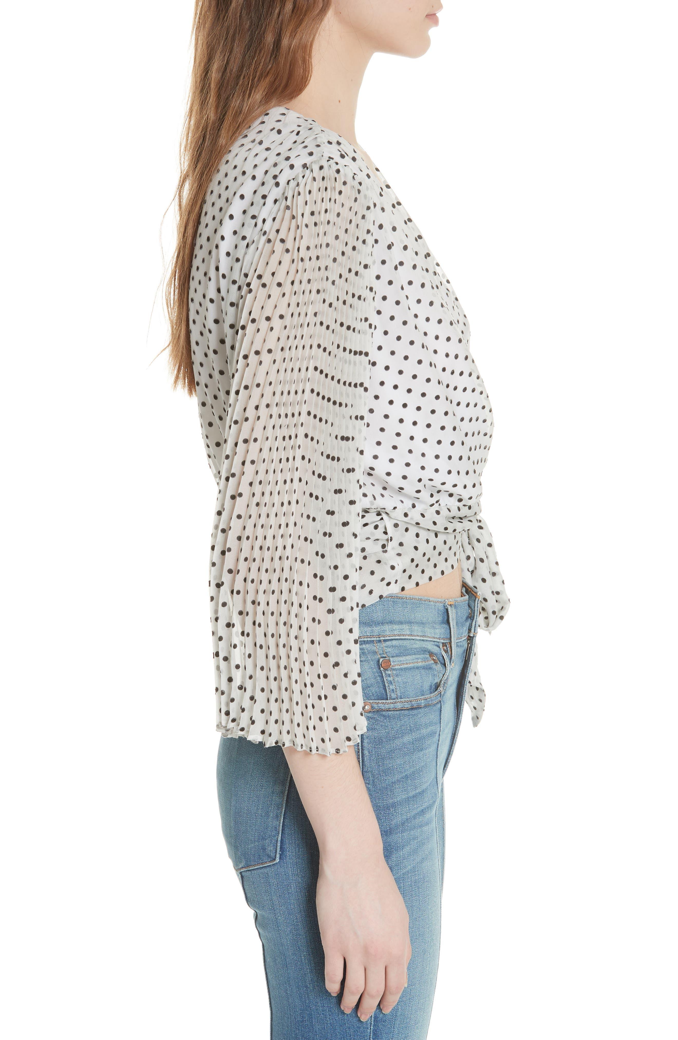 Bray Dot Pleated Sleeve Wrap Top,                             Alternate thumbnail 3, color,                             Soft White Mono Dot