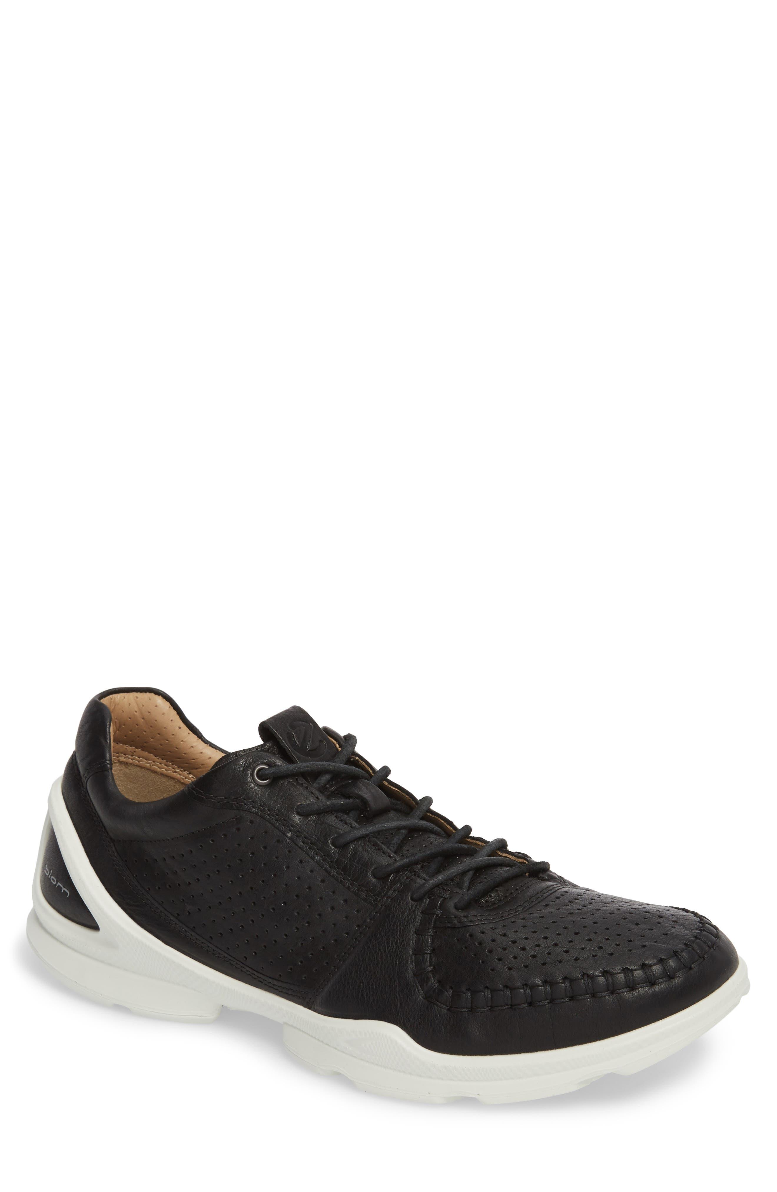 BIOM Street Moc Toe Sneaker,                         Main,                         color, Black Leather