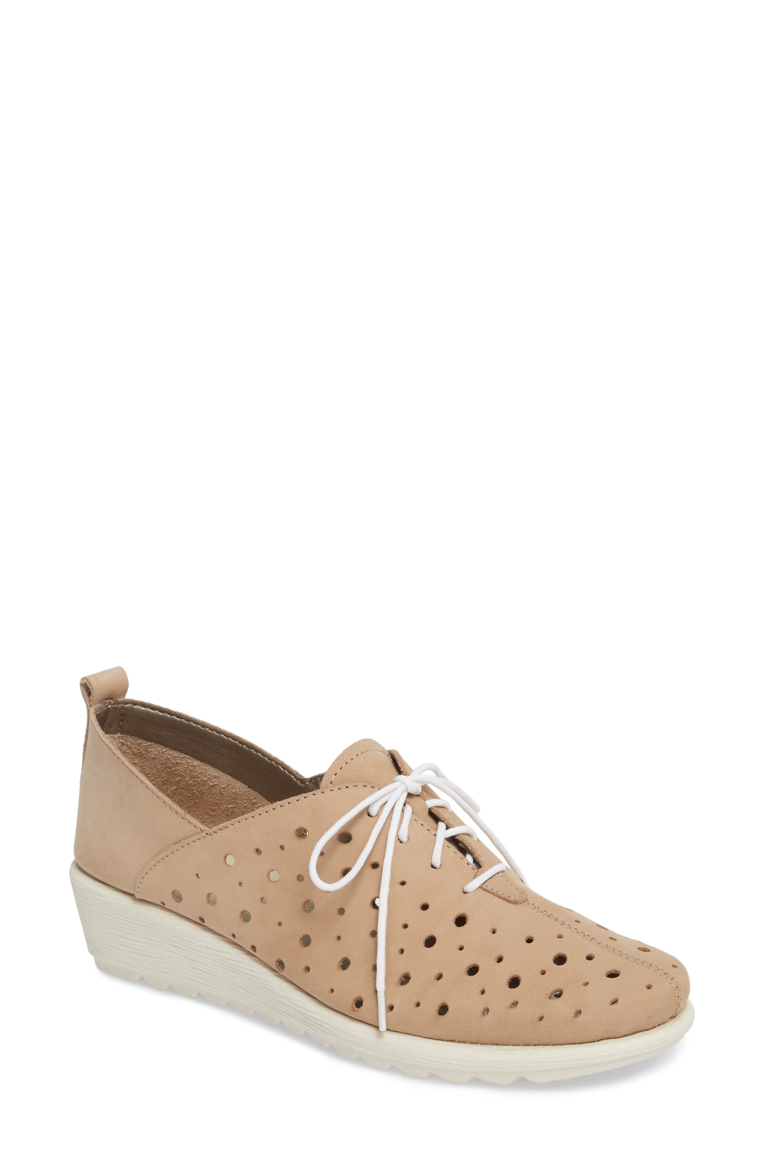 Run Crazy Too Perforated Wedge Sneaker,                         Main,                         color, Dune Nubuck