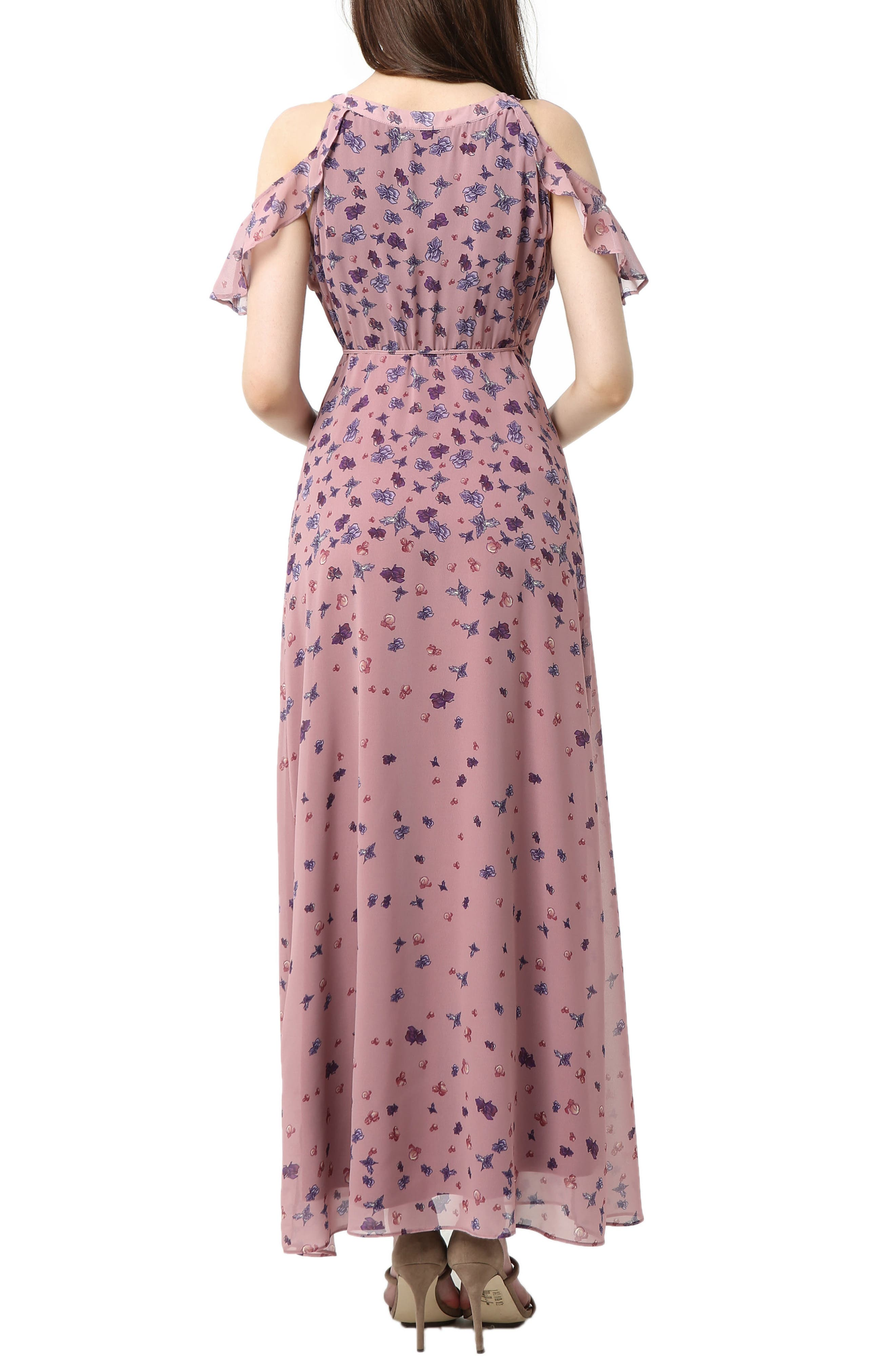 Catalina Cold Shoulder Wrap Maxi Maternity Dress,                             Alternate thumbnail 2, color,                             Rose Pink