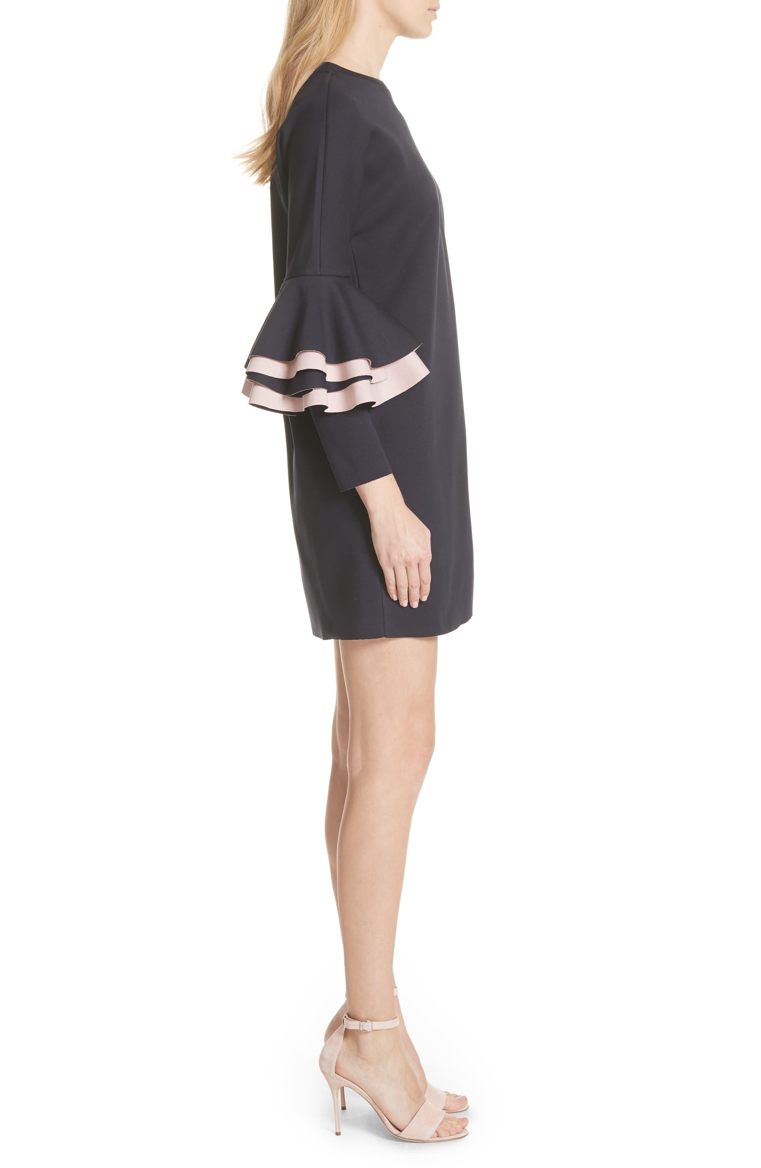 Chloae Frill Sleeve Sweatshirt Dress,                             Alternate thumbnail 3, color,                             Navy