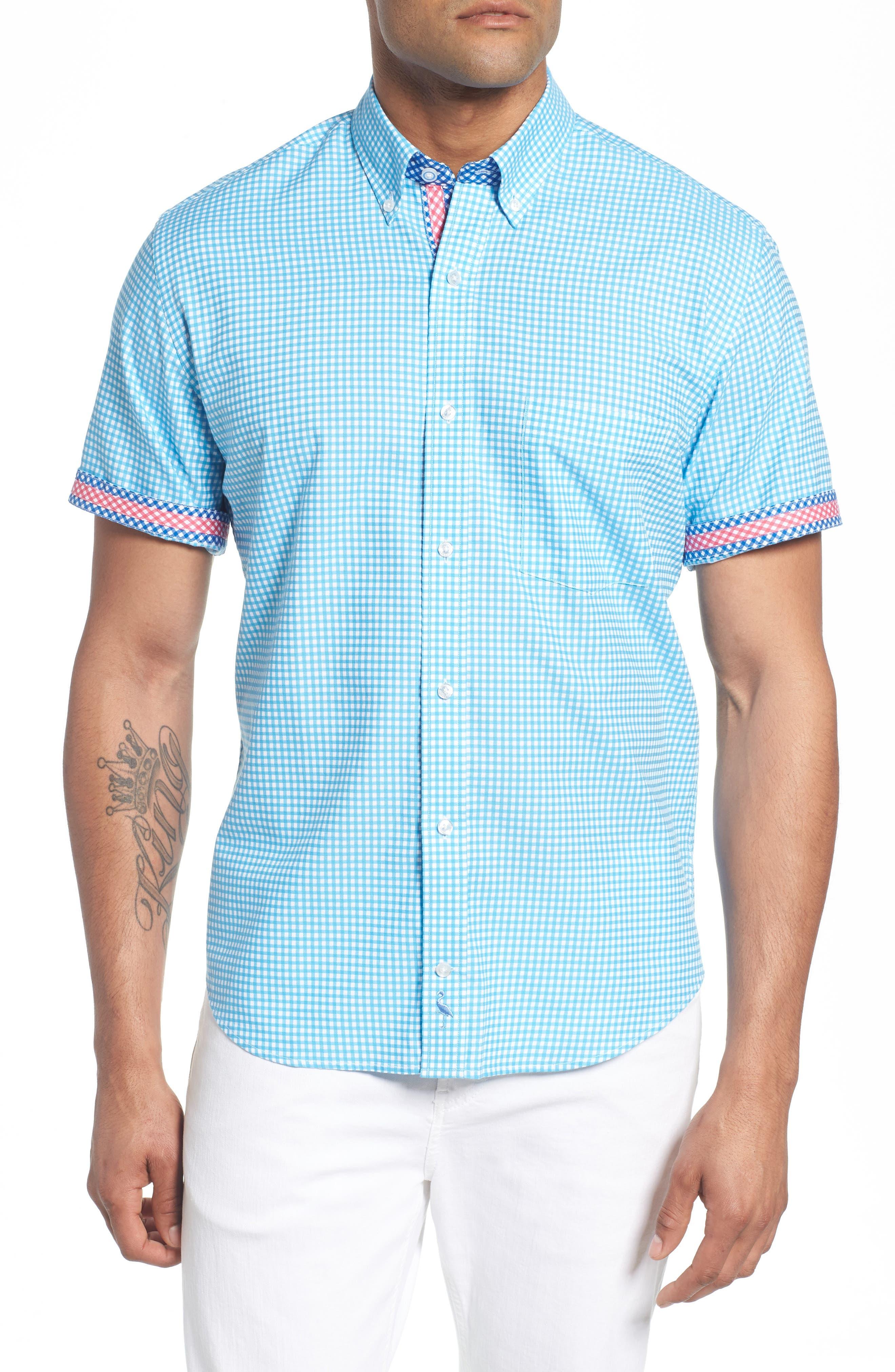 Aden Regular Fit Sport Shirt,                             Alternate thumbnail 3, color,                             Aqua