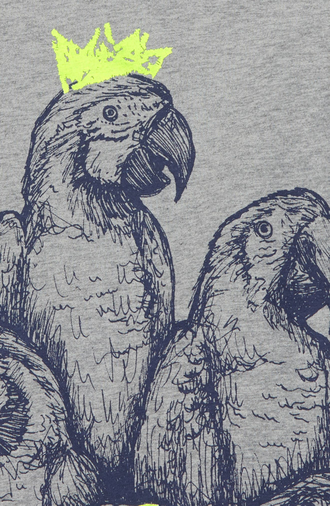 Arty Parrot T-Shirt,                             Alternate thumbnail 2, color,                             Grey Marl Parrots