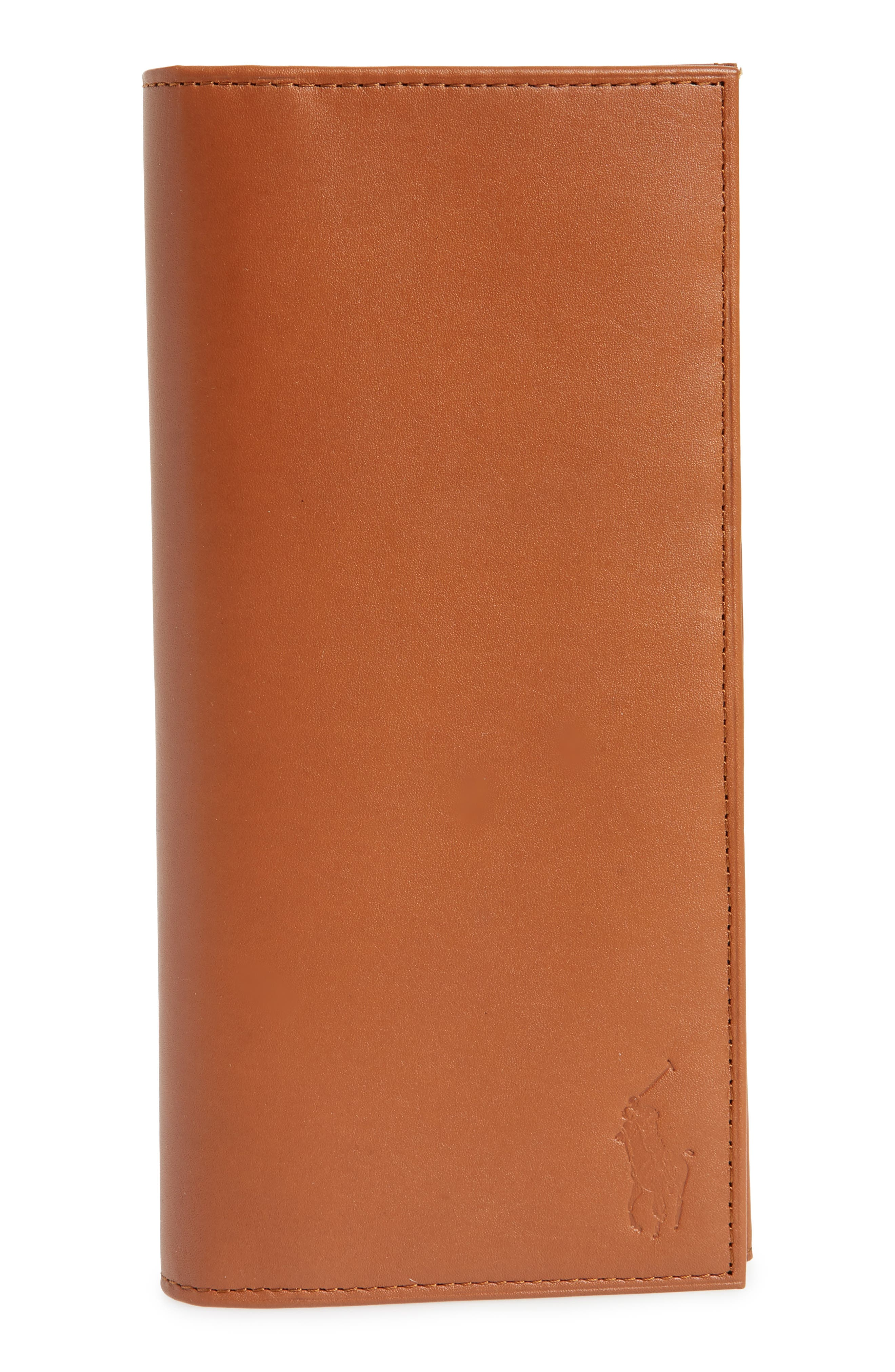 Tall Leather Wallet,                         Main,                         color, Whiskey