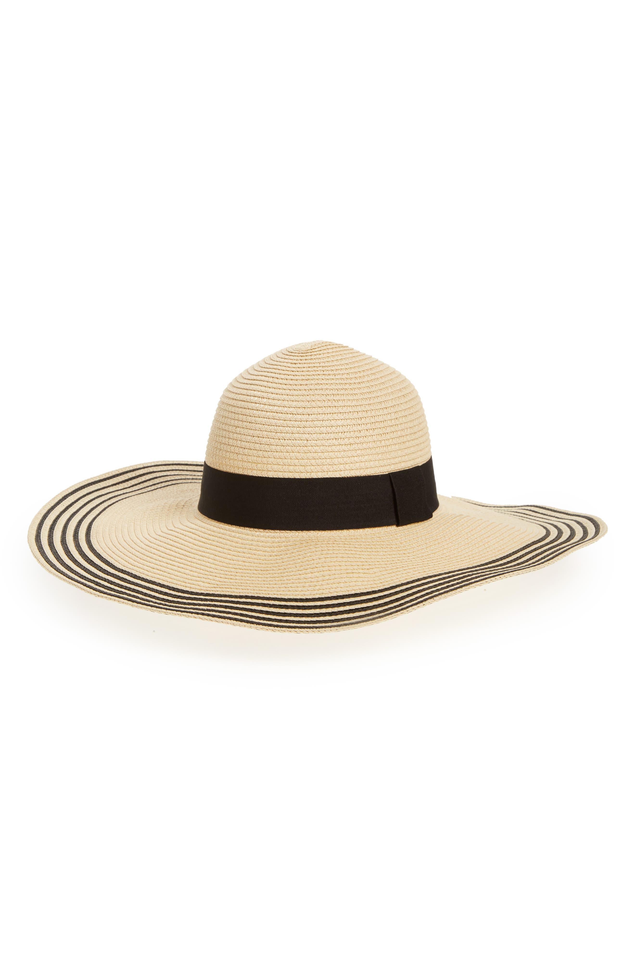 Stripe Brim Straw Hat,                         Main,                         color, Natural/ Black