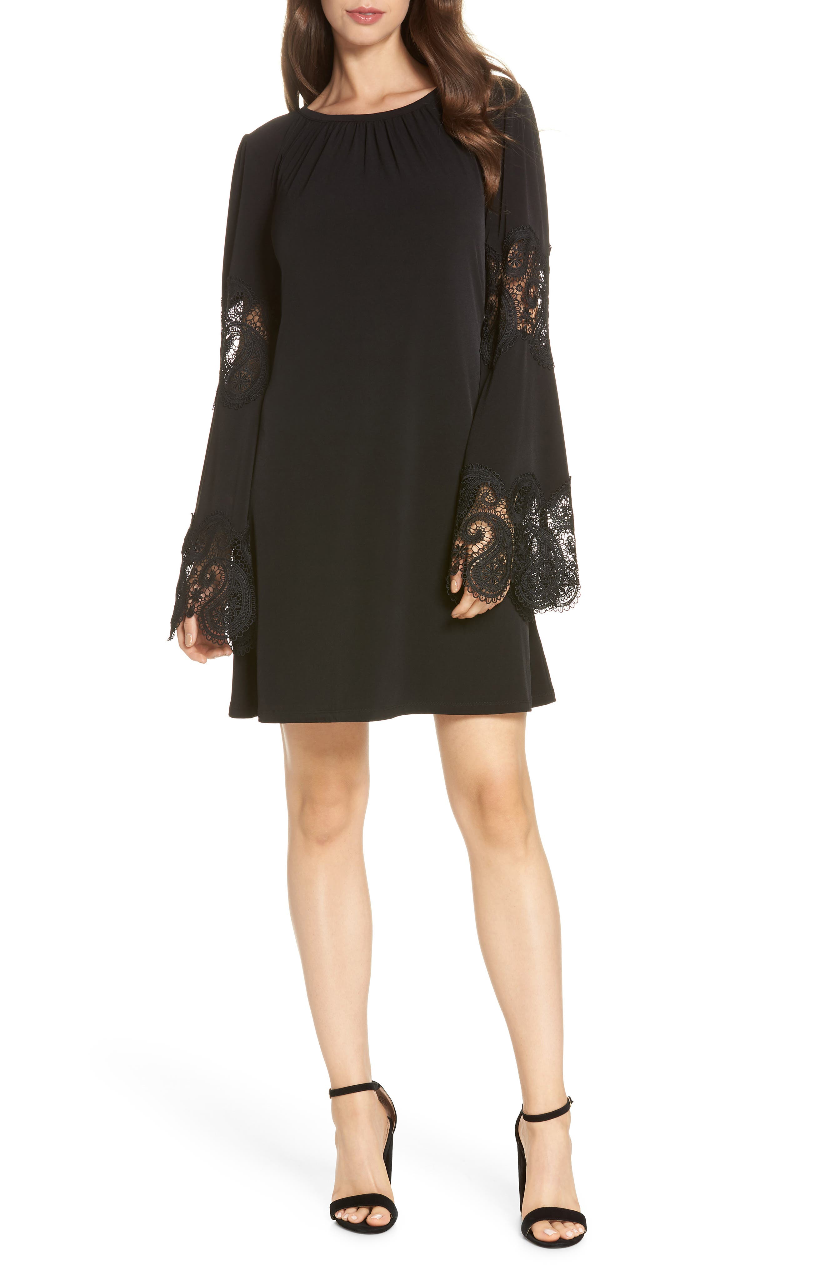 Lace Inset Bell Sleeve Shift Dress,                             Main thumbnail 1, color,                             Black