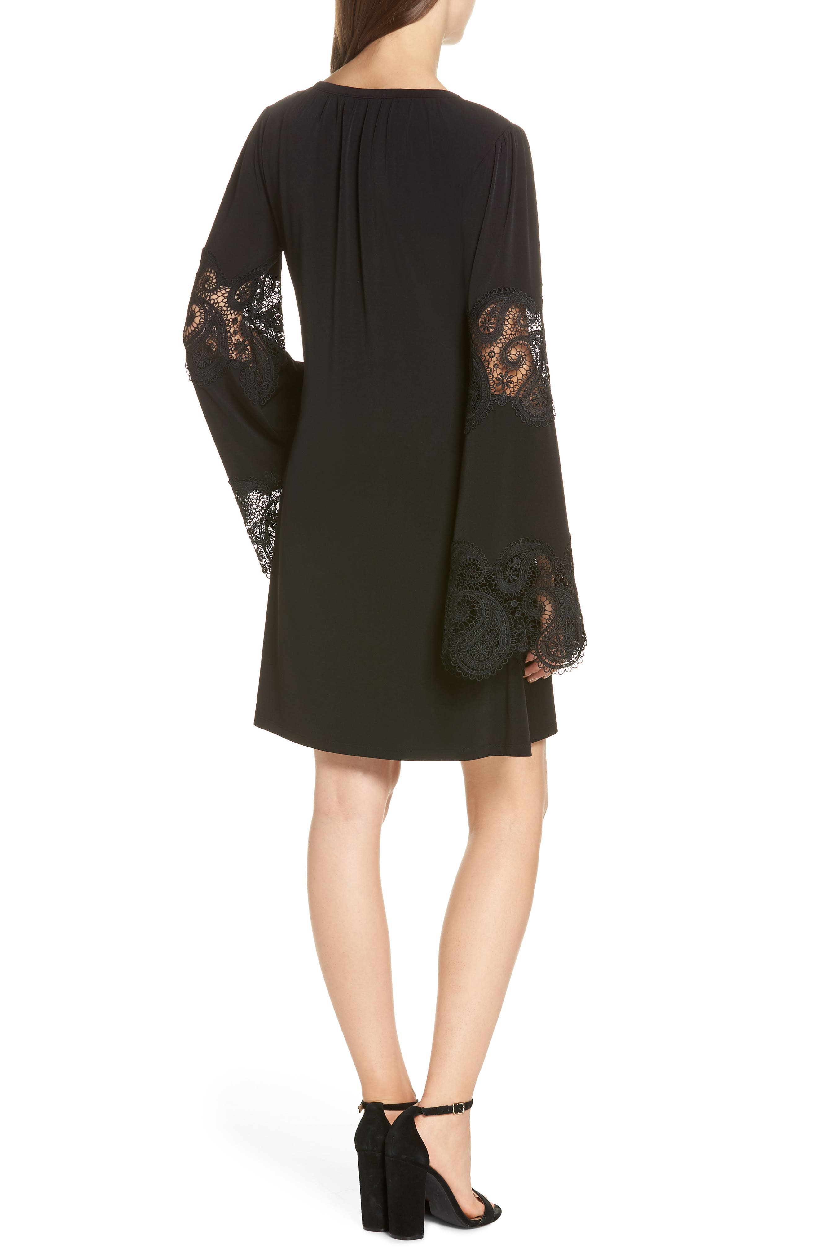 Lace Inset Bell Sleeve Shift Dress,                             Alternate thumbnail 2, color,                             Black