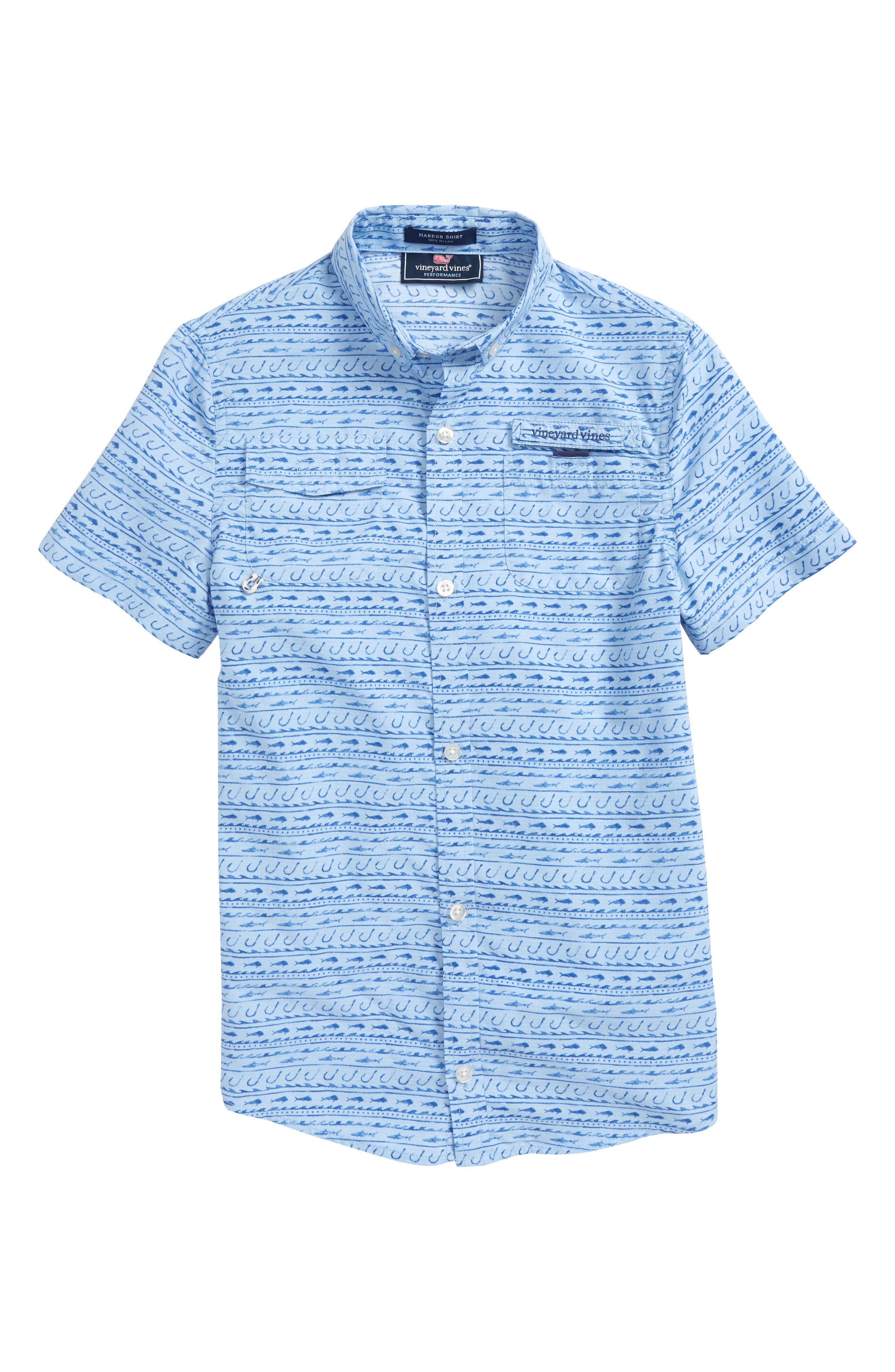 Harbor Fish Hook Woven Shirt,                         Main,                         color, Basin Blue