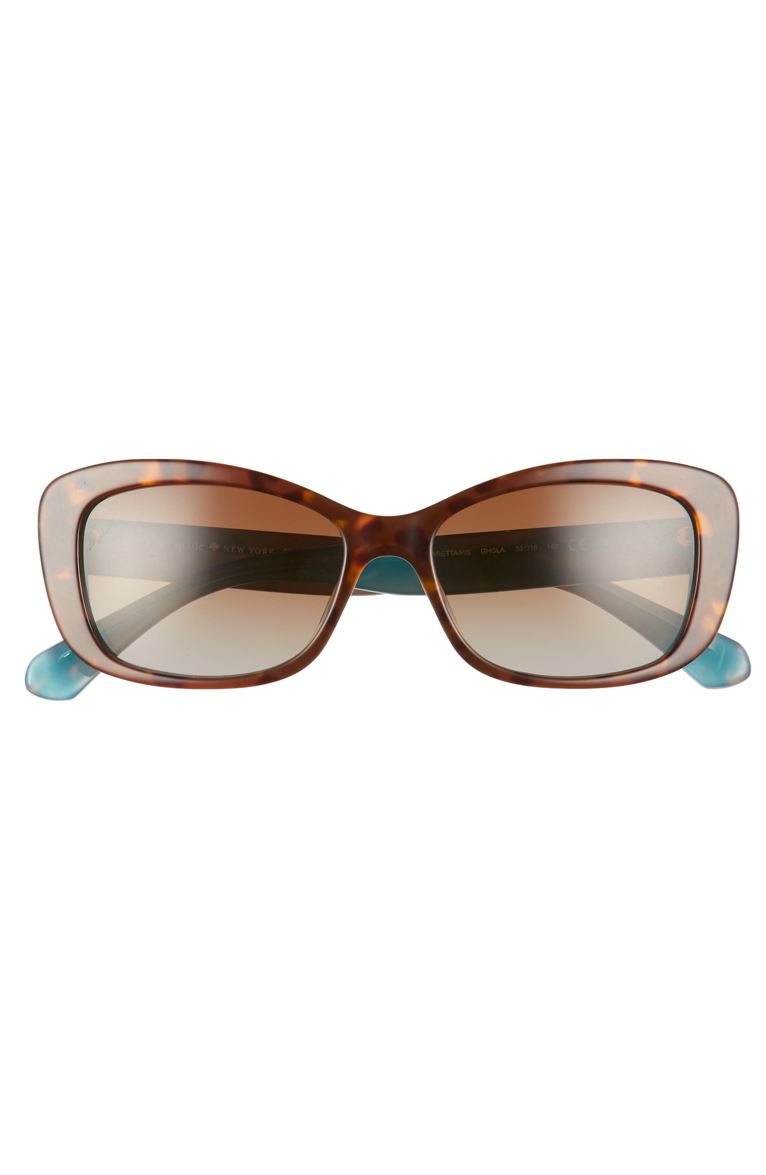 claretta 53mm polarized sunglasses,                             Alternate thumbnail 3, color,                             Havana/ Aqua