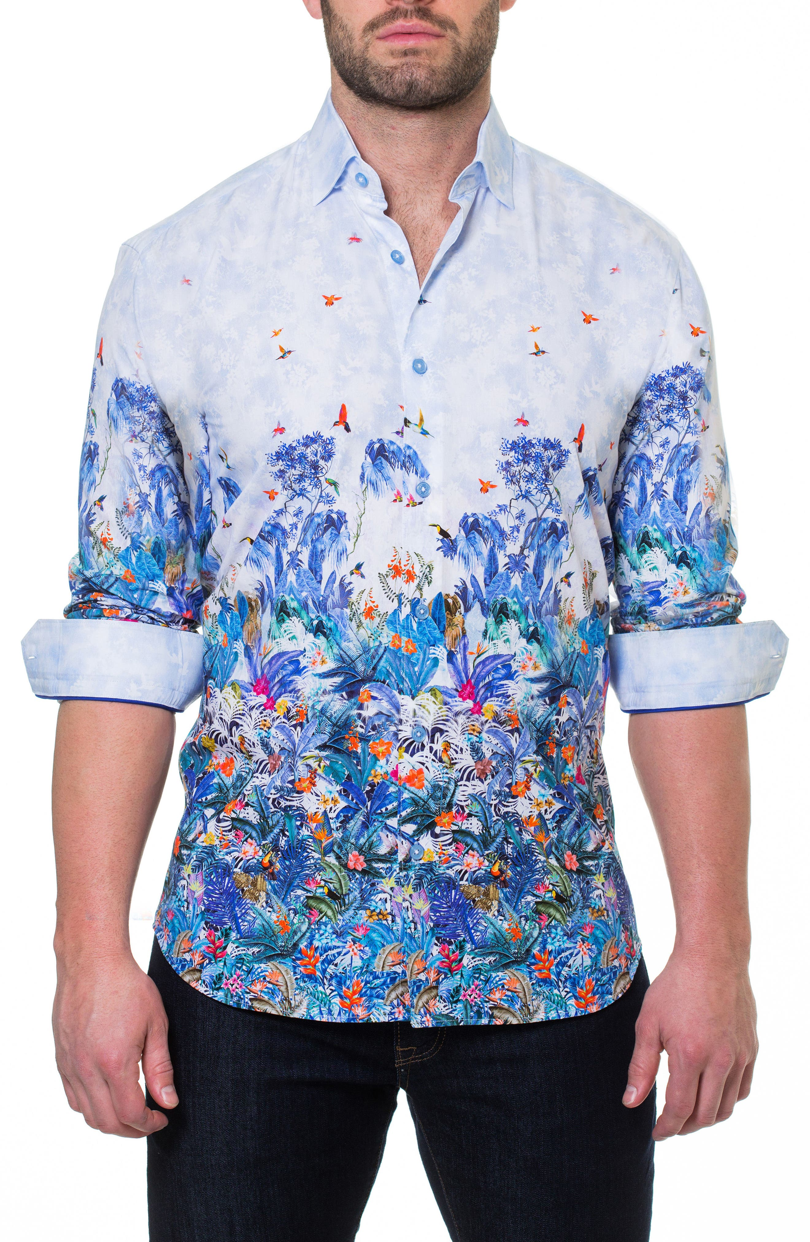 Luxor Amazon Slim Fit Print Sport Shirt,                             Alternate thumbnail 3, color,                             Blue