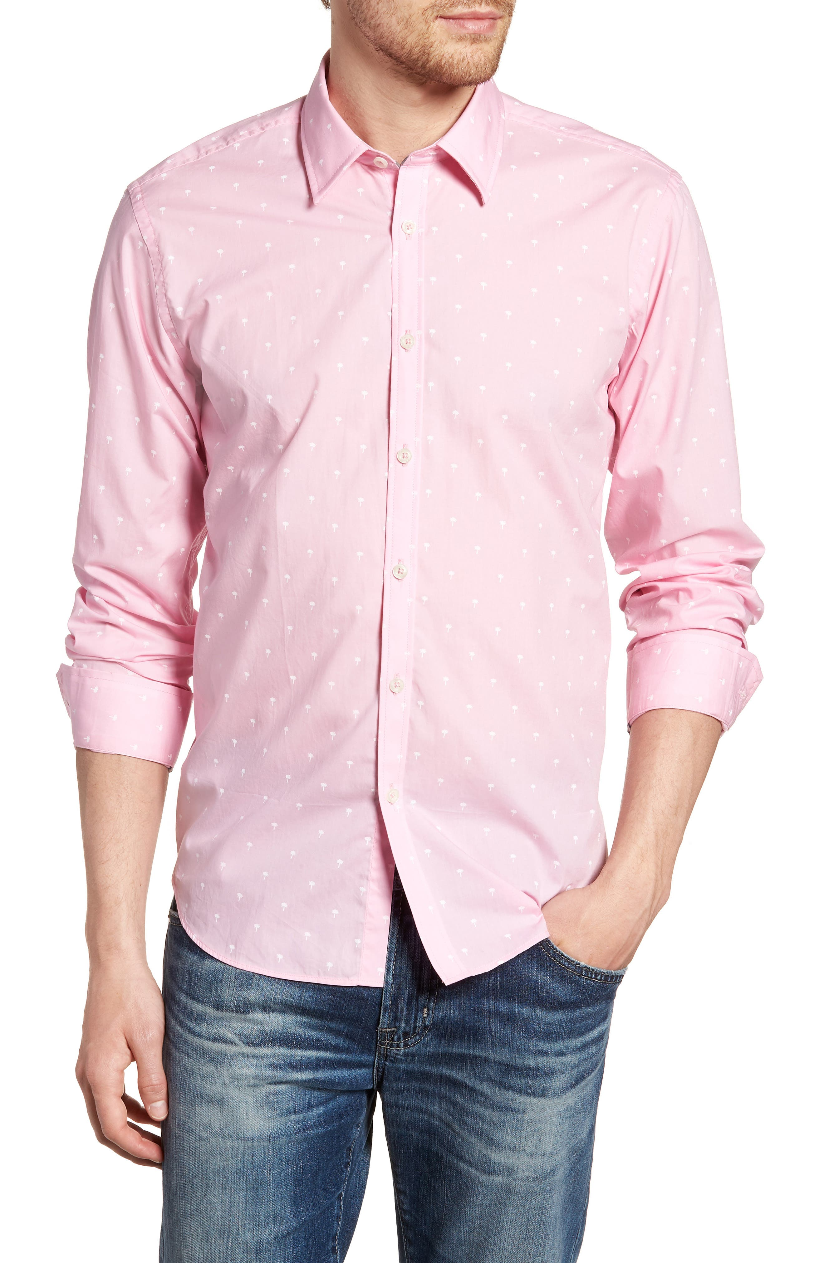 Comfort Fit Palm Print Sport Shirt,                         Main,                         color, Light Pink