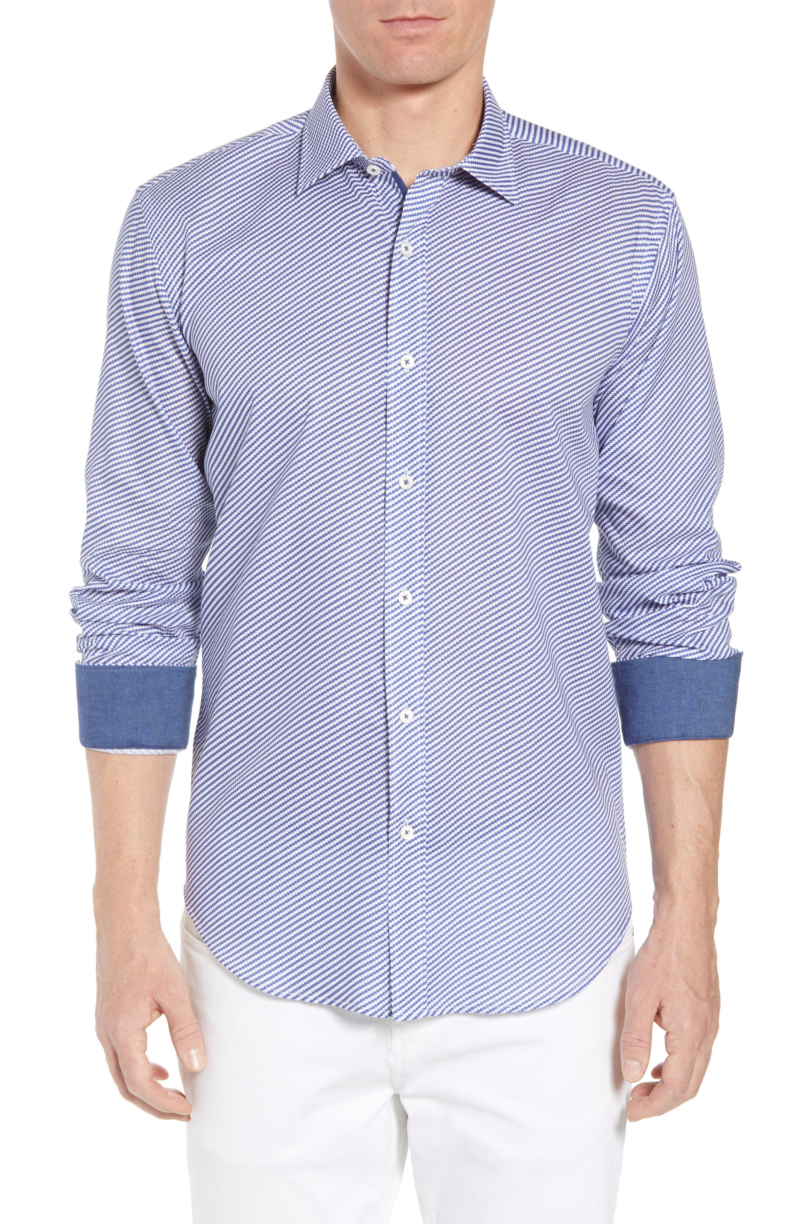 Shaped Fit Optic Print Sport Shirt,                         Main,                         color, Navy