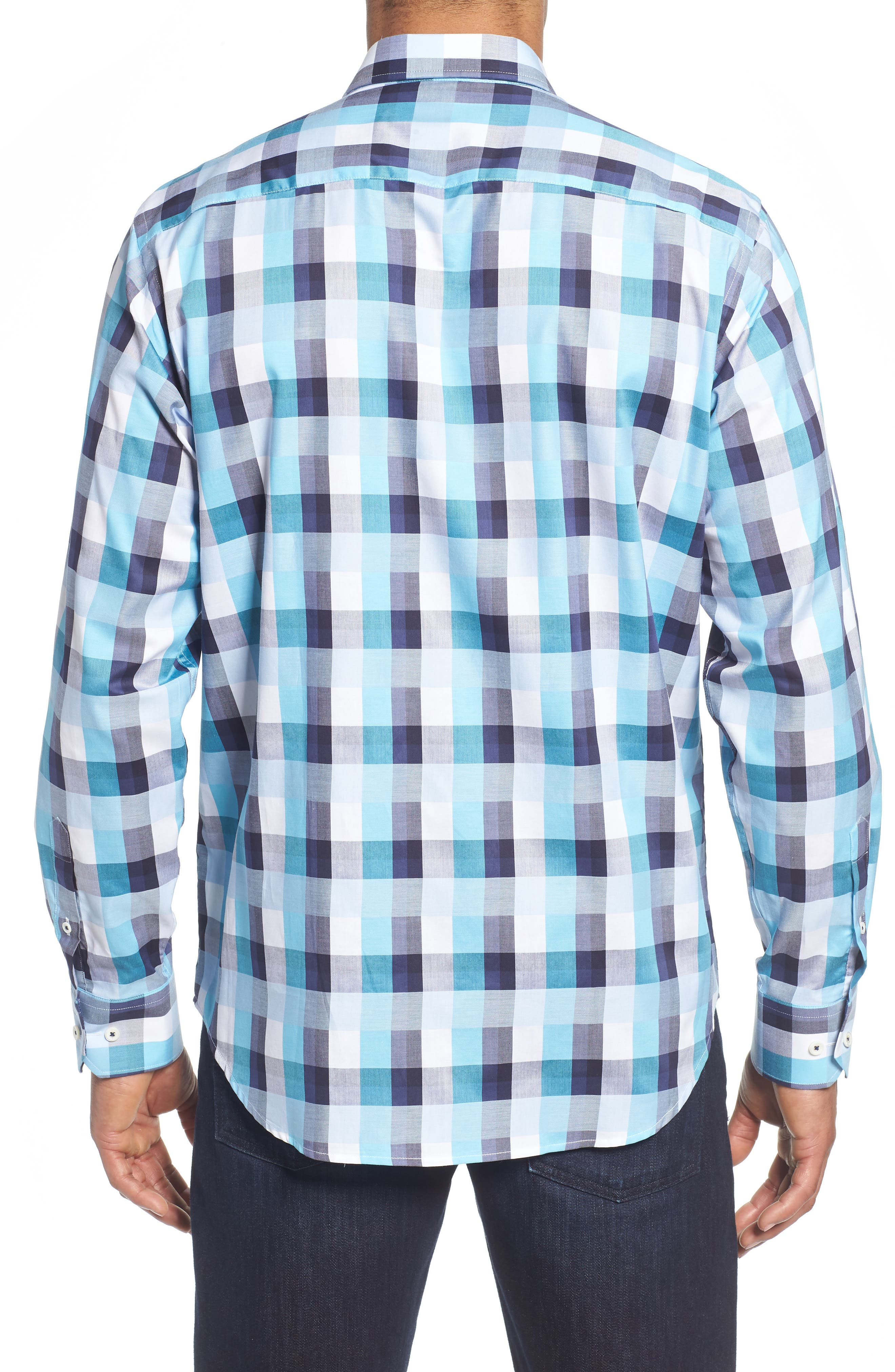 Classic Fit Check Sport Shirt,                             Alternate thumbnail 3, color,                             Seafoam