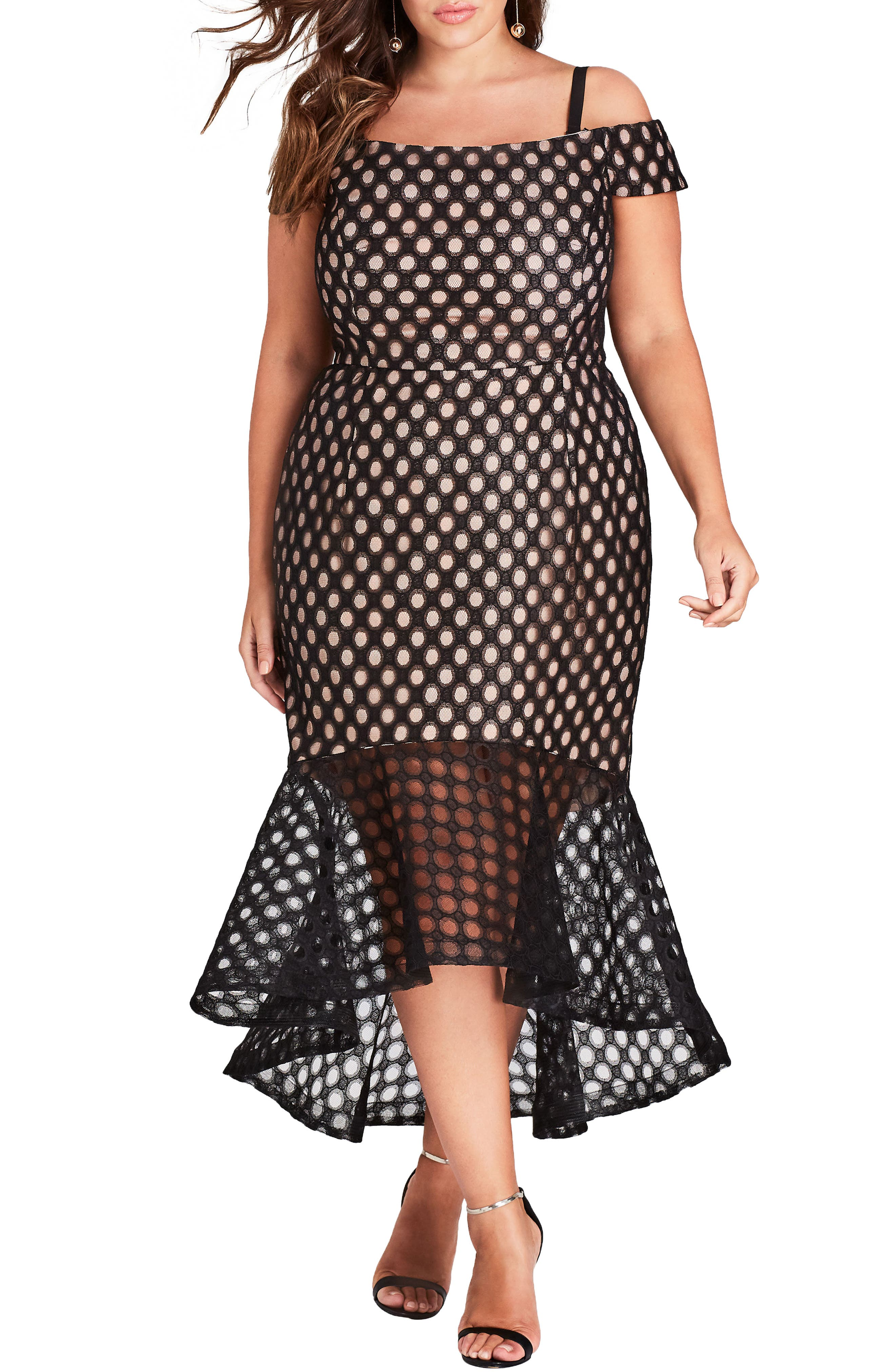 Envie Cold Shoulder Mesh Mermaid Dress,                             Main thumbnail 1, color,                             Black
