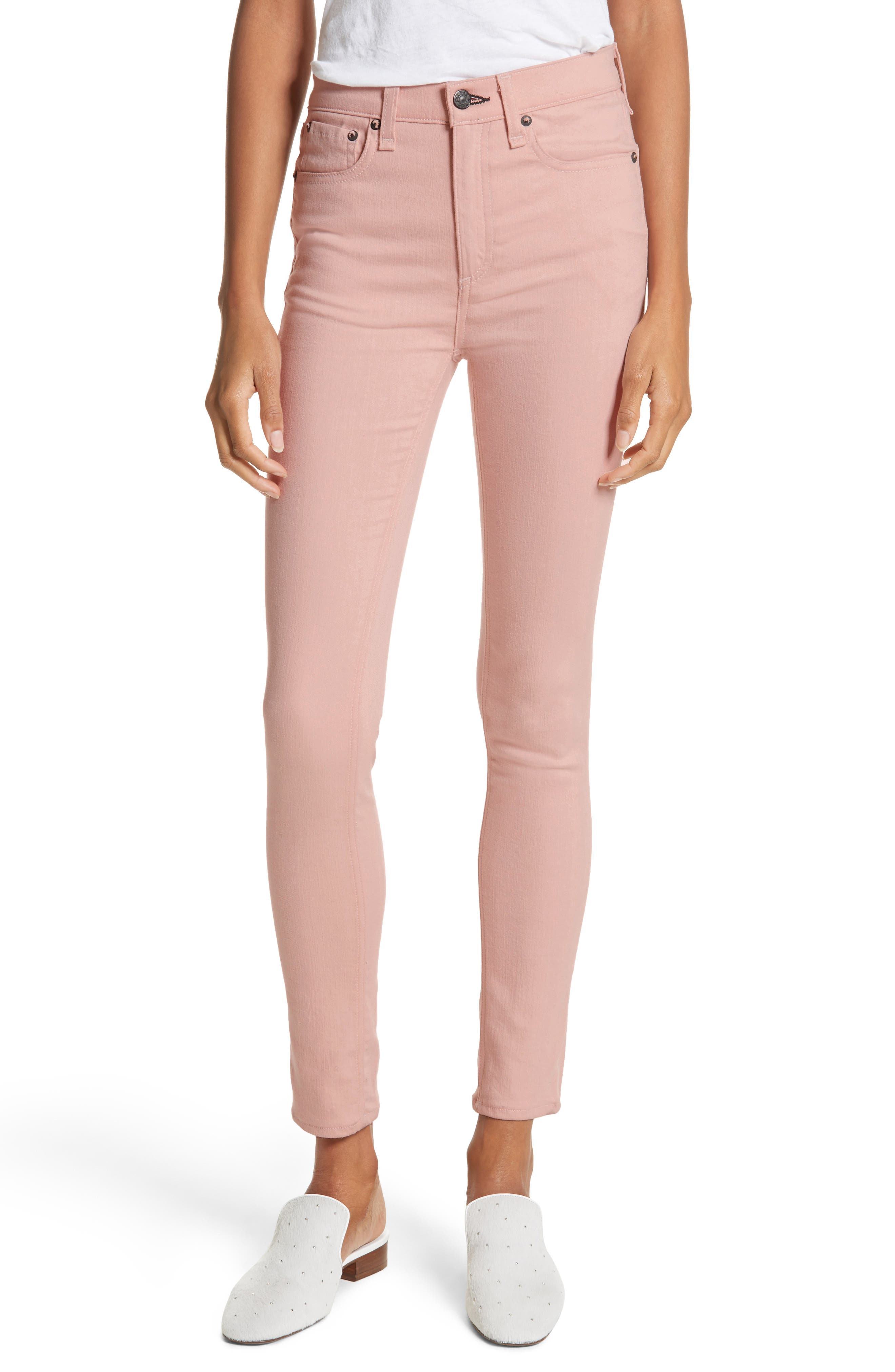High Waist Skinny Jeans,                         Main,                         color, Blush Twill