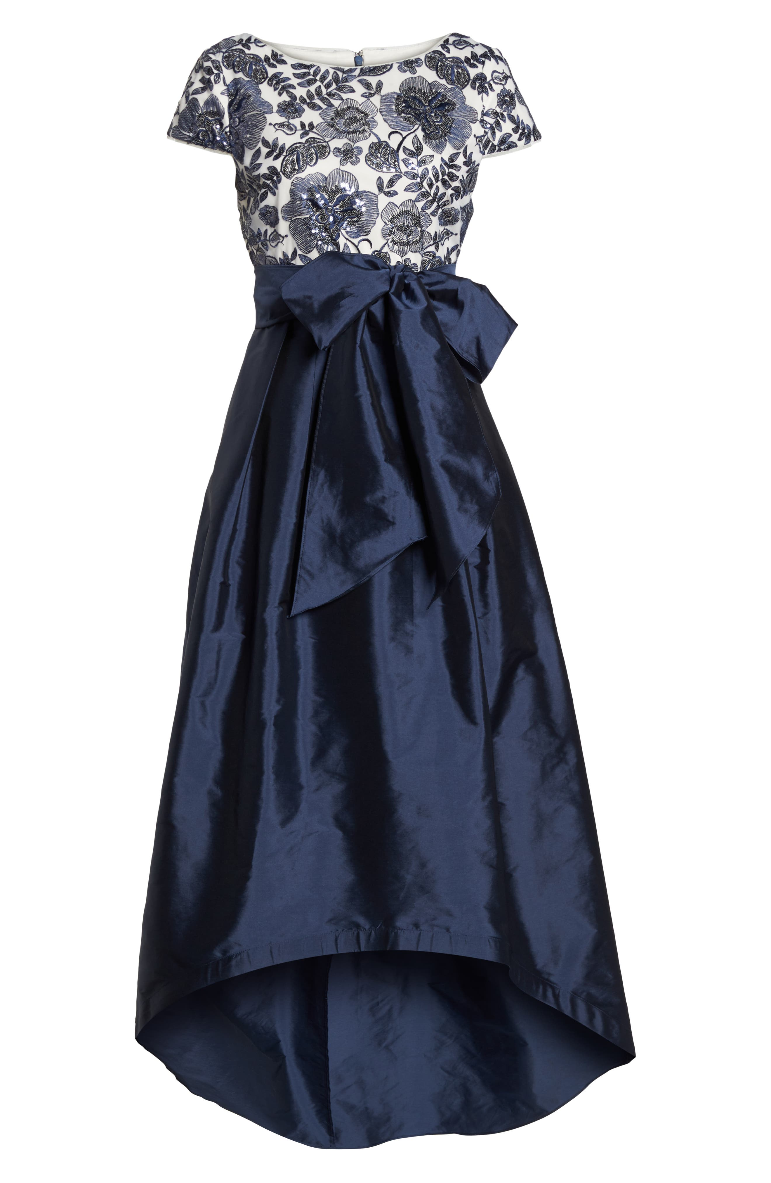Sequin Bodice High/Low Ballgown,                             Alternate thumbnail 6, color,                             Midnight/ Ivory