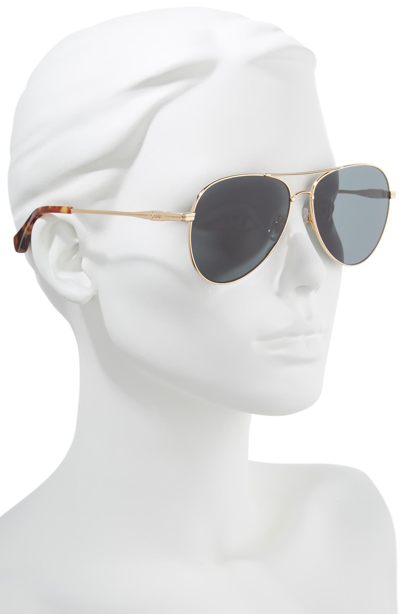Lodi 61mm Mirrored Aviator Sunglasses,                             Alternate thumbnail 2, color,                             Gold Wire/ Black Solid