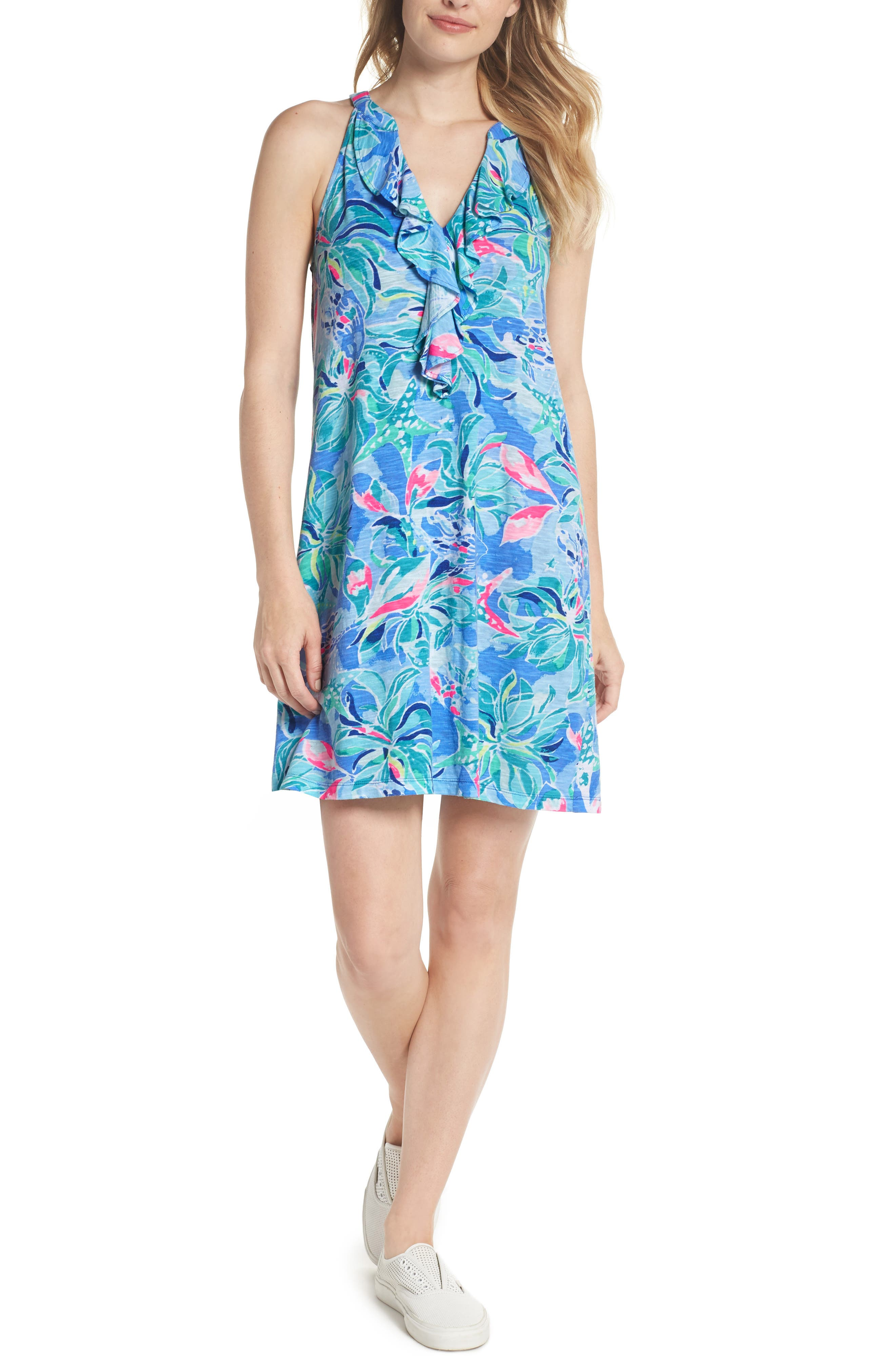 Shay Ruffle Halter Dress,                             Main thumbnail 1, color,                             Bennet Blue Celestial Seas