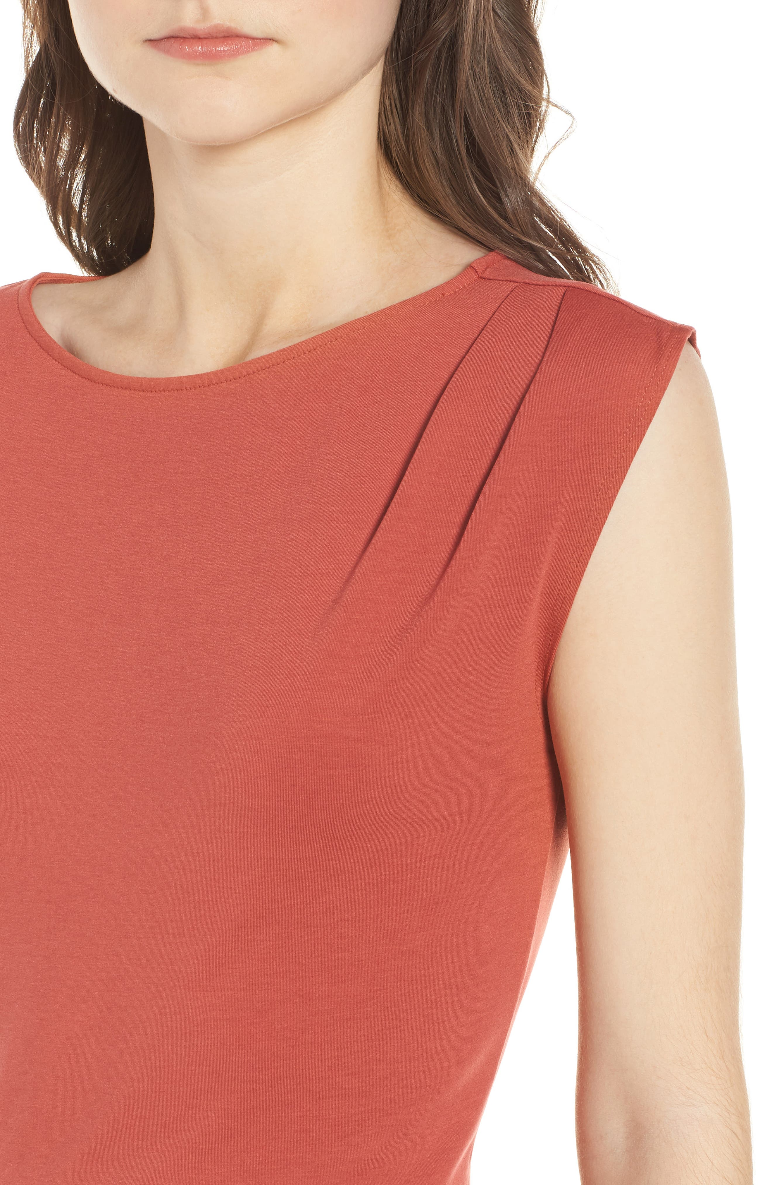 Ruched Knit Dress,                             Alternate thumbnail 4, color,                             Red Sauce