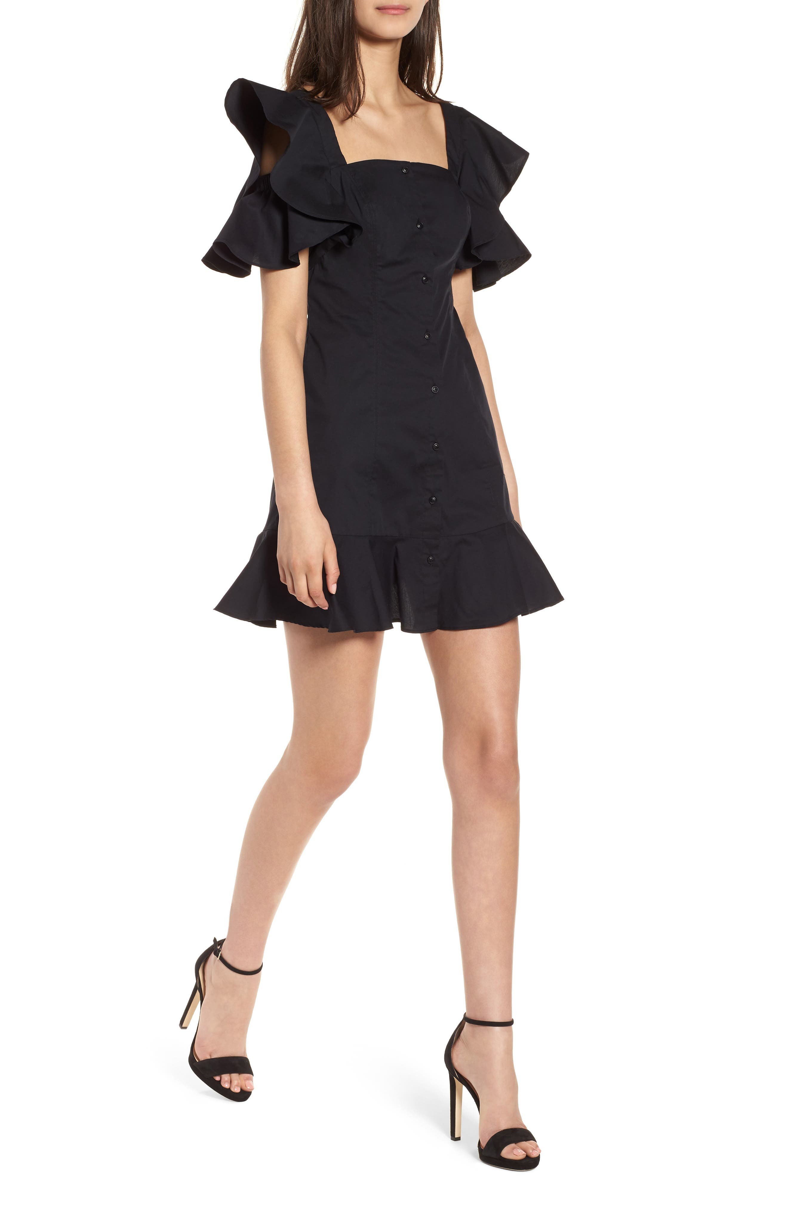 Main Image - KENDALL + KYLIE Ruffle Sleeve Dress