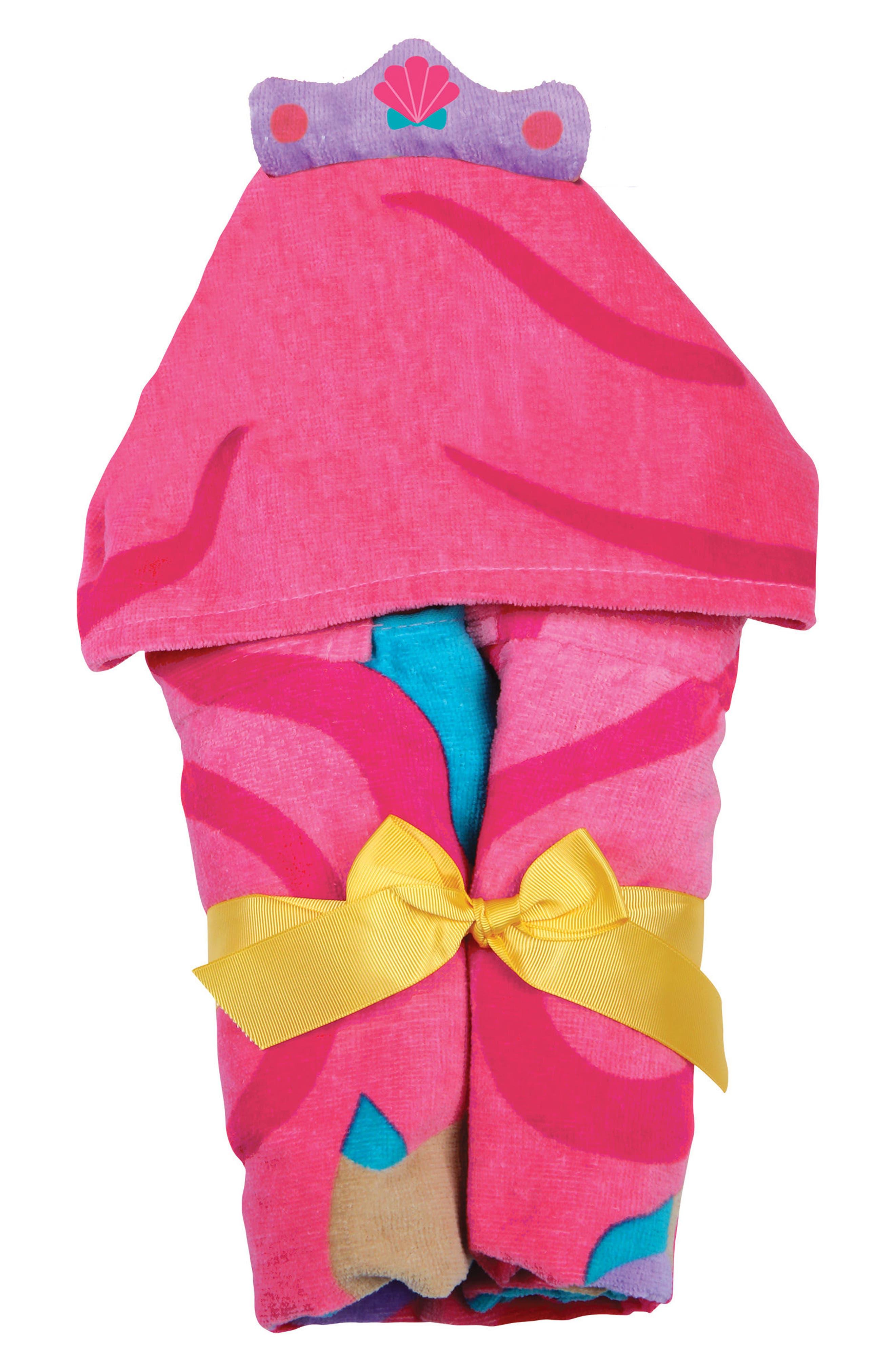 Bag, Hooded Towel & Goggles,                             Alternate thumbnail 3, color,                             Pink Mermaid
